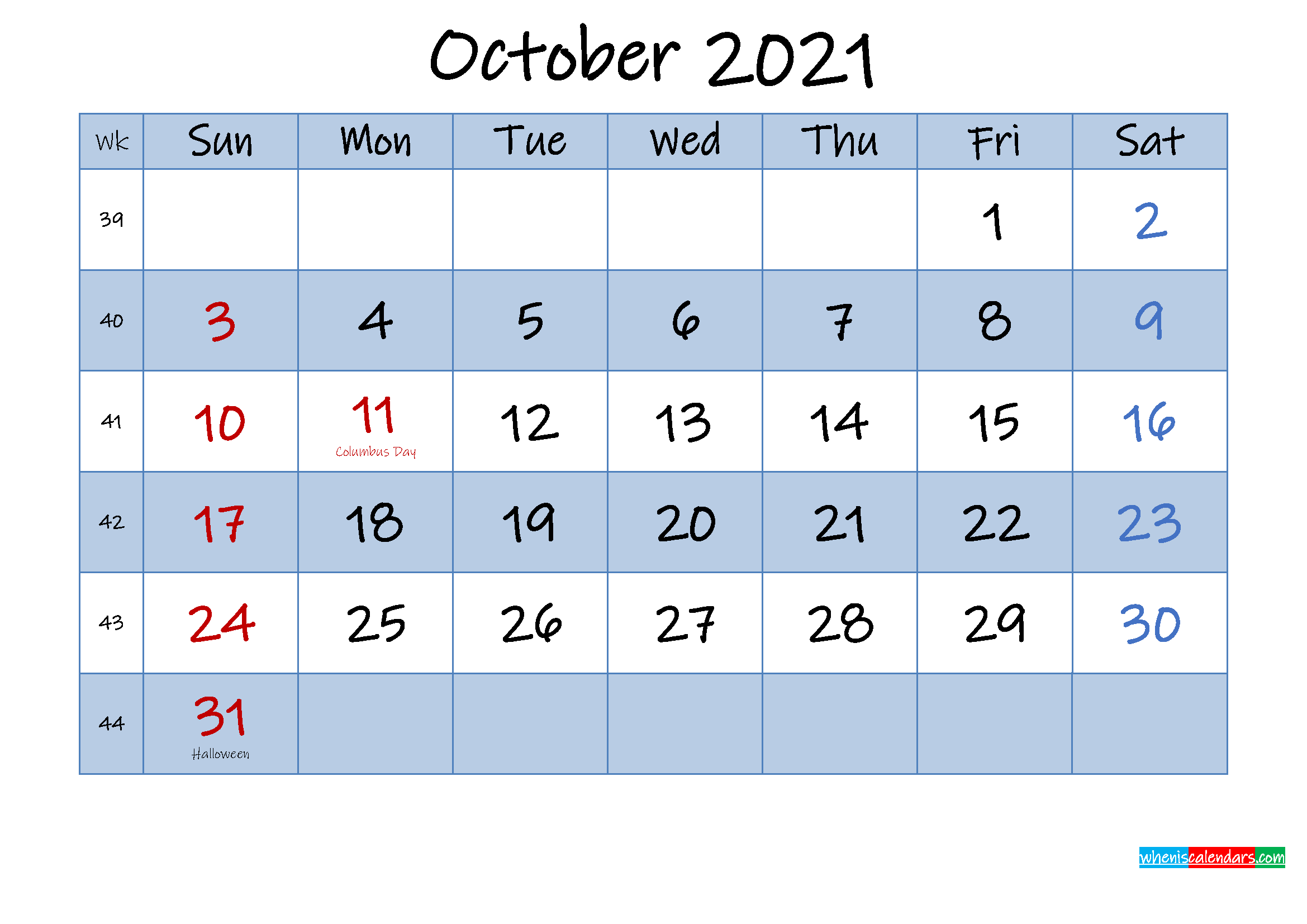 Free October 2021 Monthly Calendar PDF - Template No.ink21m430