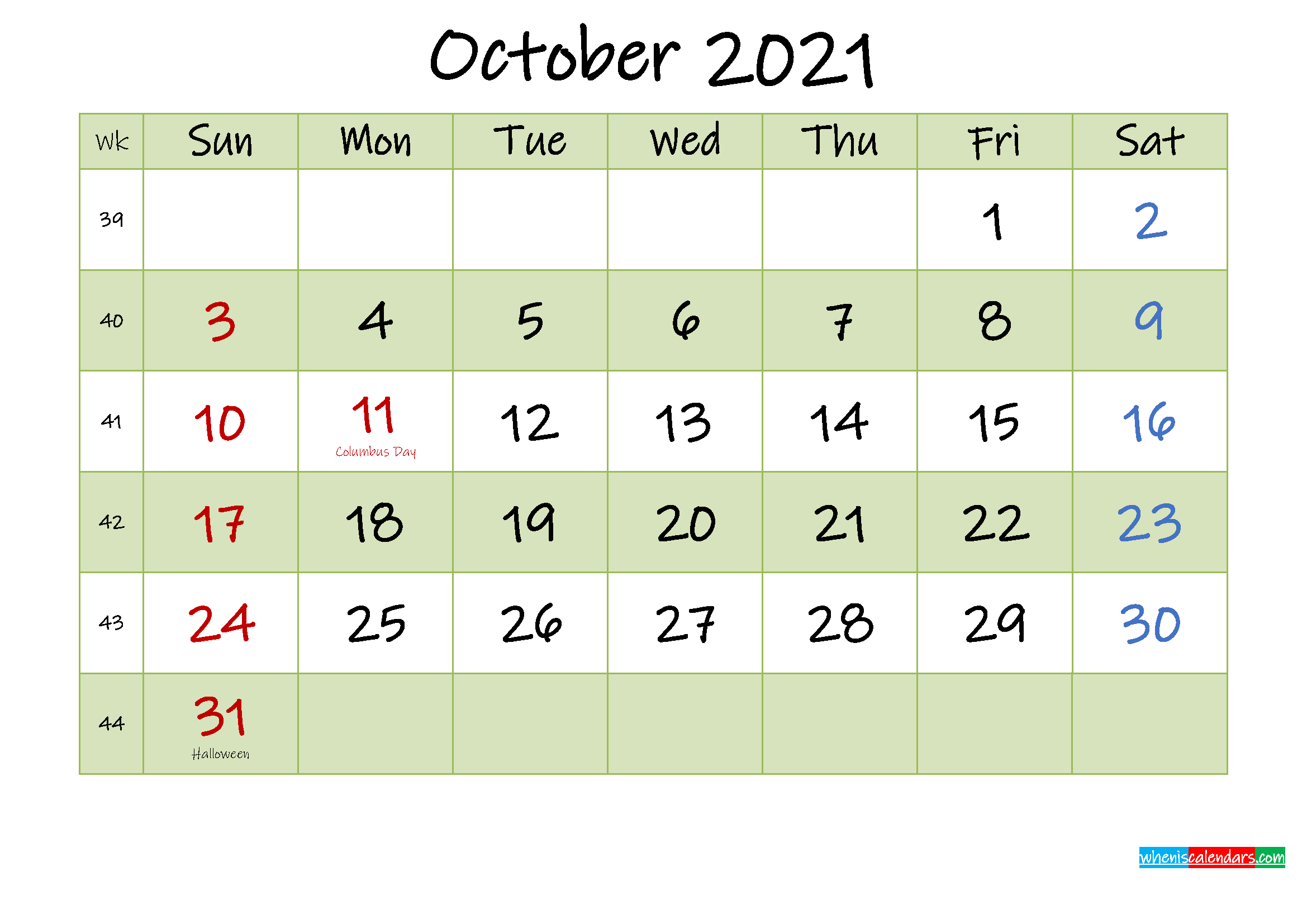 October 2021 Calendar with Holidays Printable
