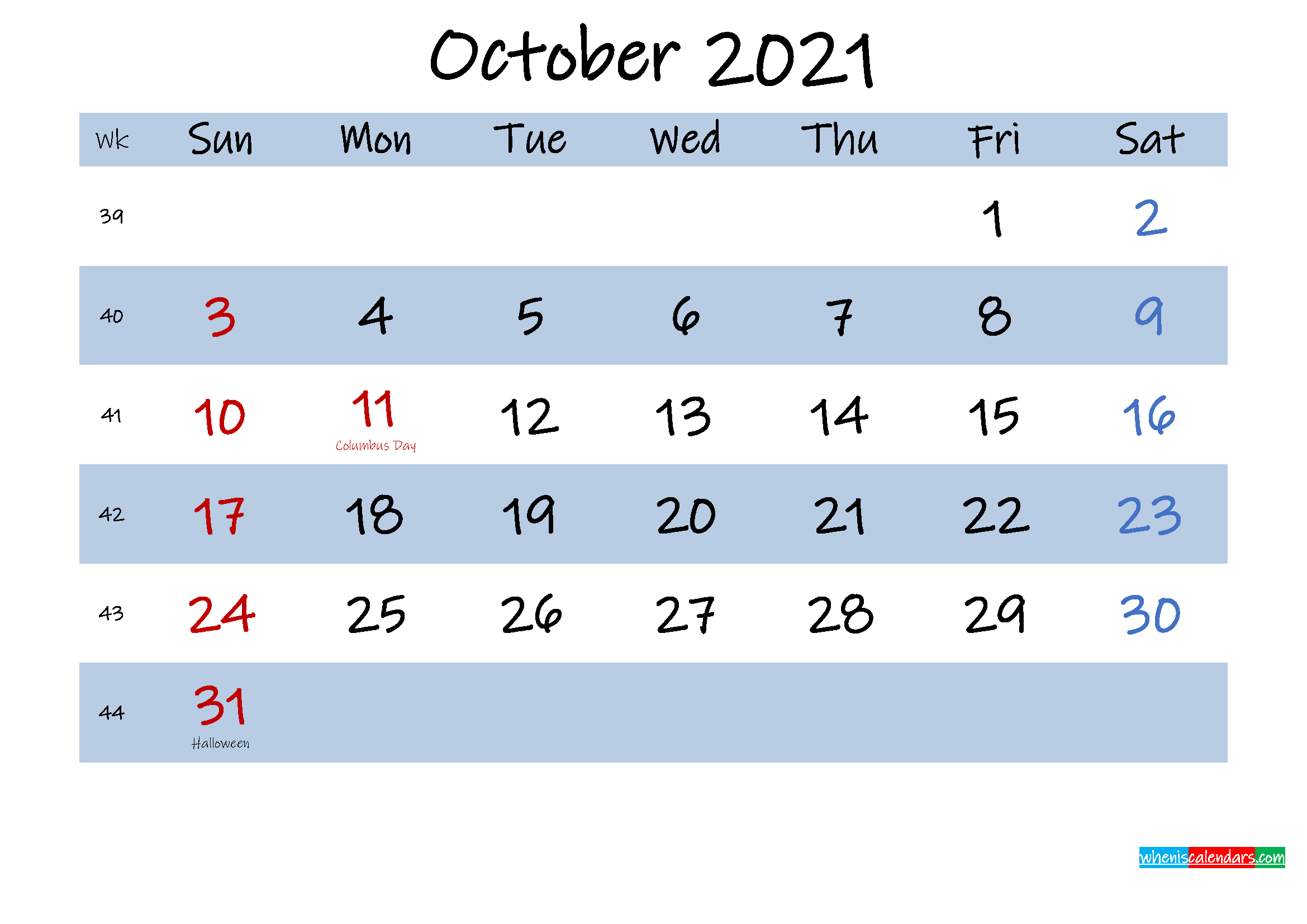Printable October 2021 Calendar Word