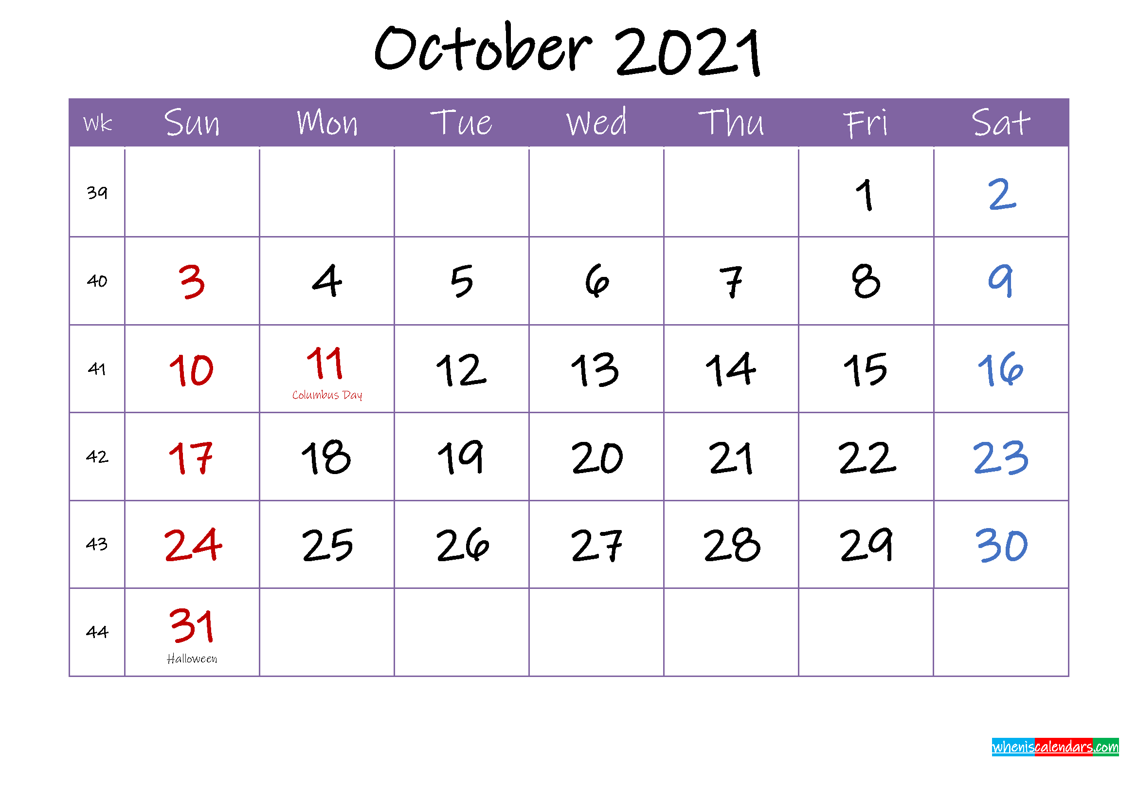 October 2021 Calendar with Holidays Printable