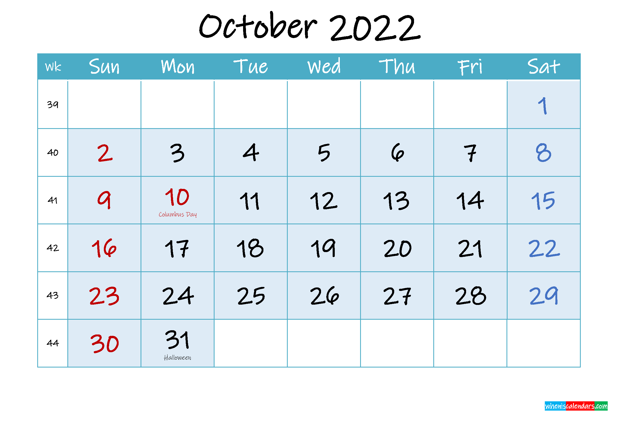 October 2022 Free Printable Calendar with Holidays