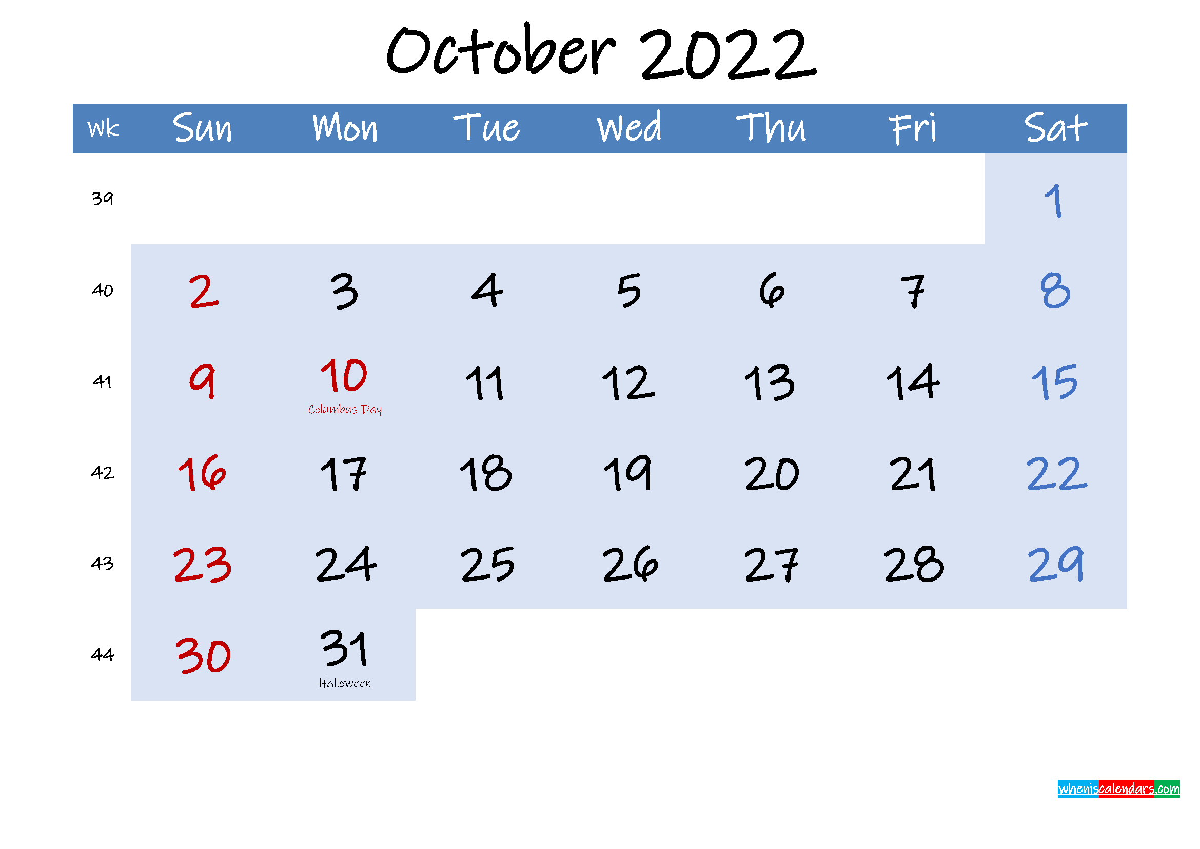 Free October 2022 Monthly Calendar PDF
