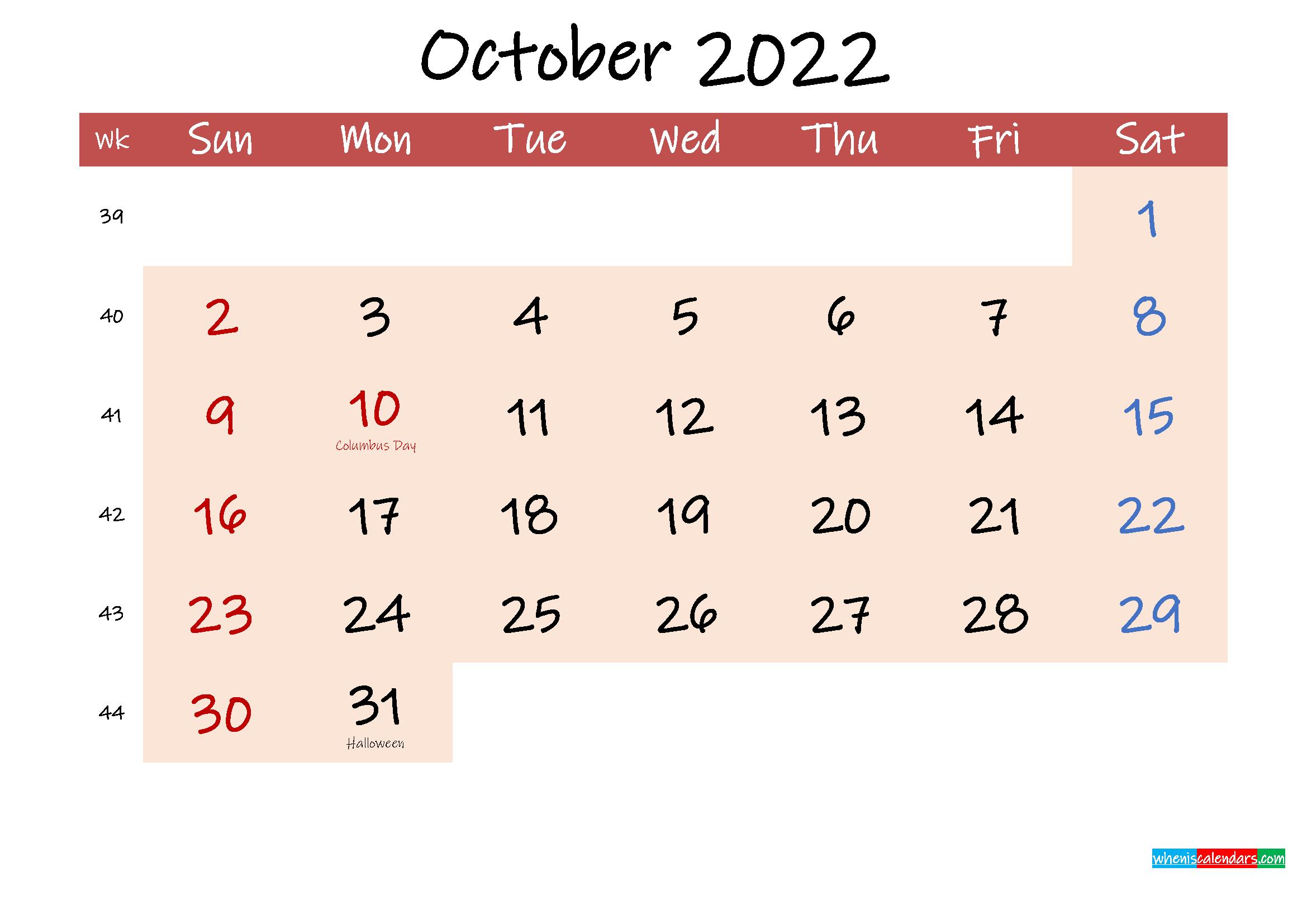 Free Printable Coloring Calendar 2022 October