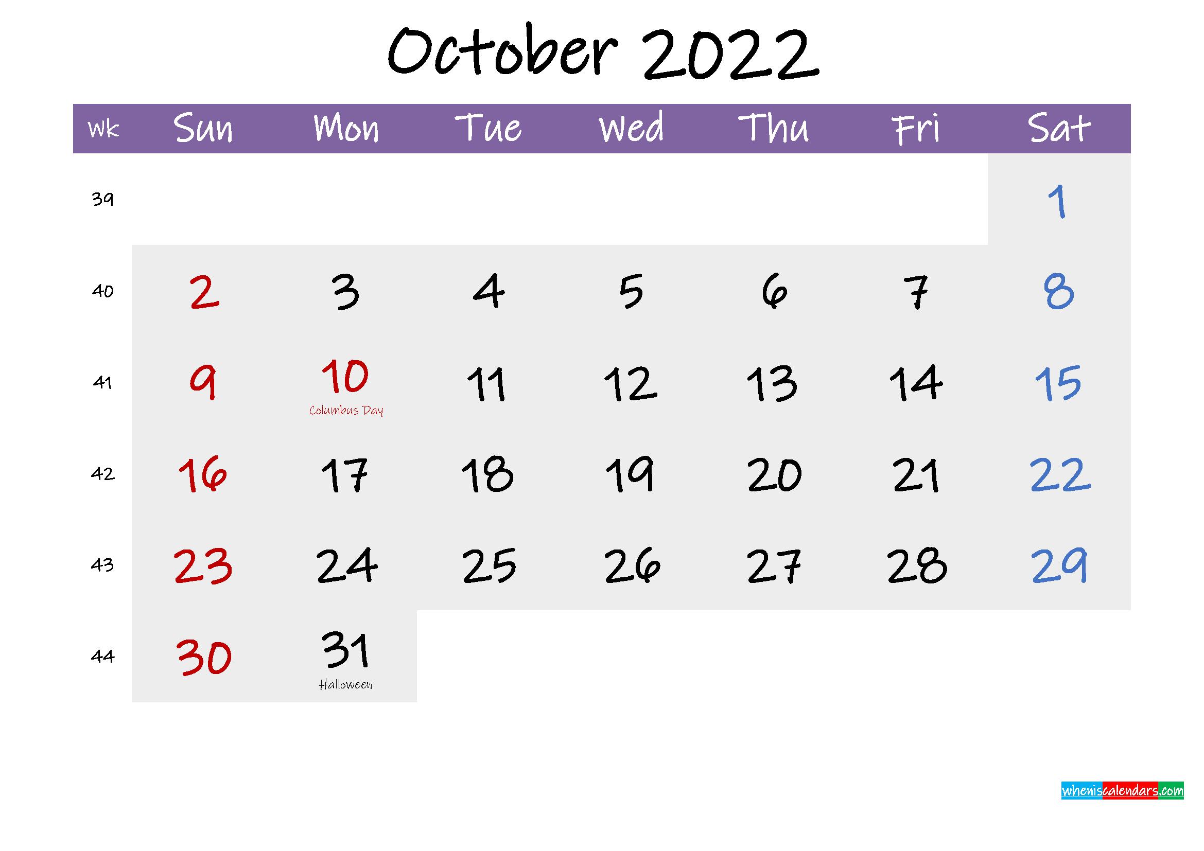 Editable October 2022 Calendar Word