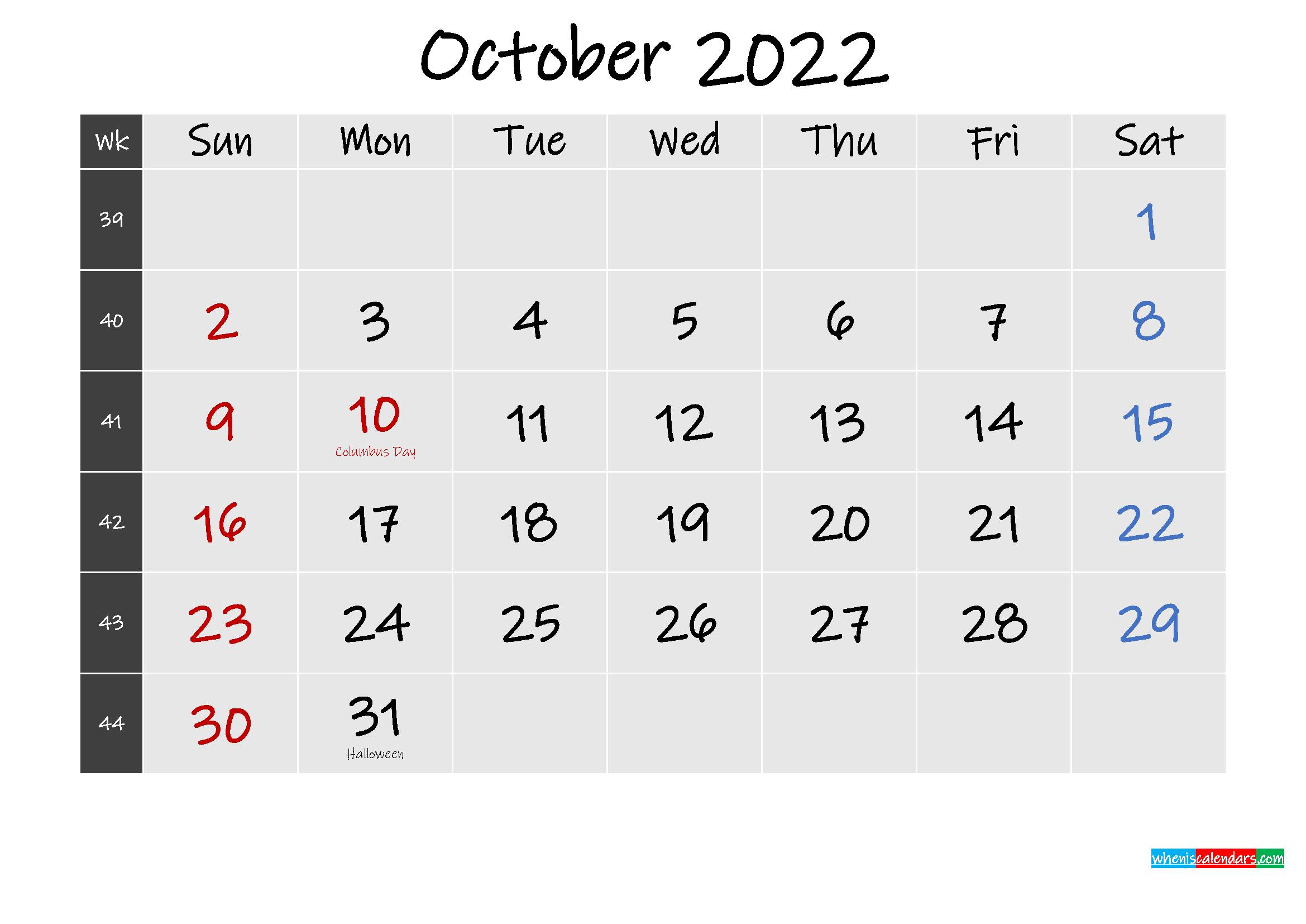 Printable October 2022 Calendar Word