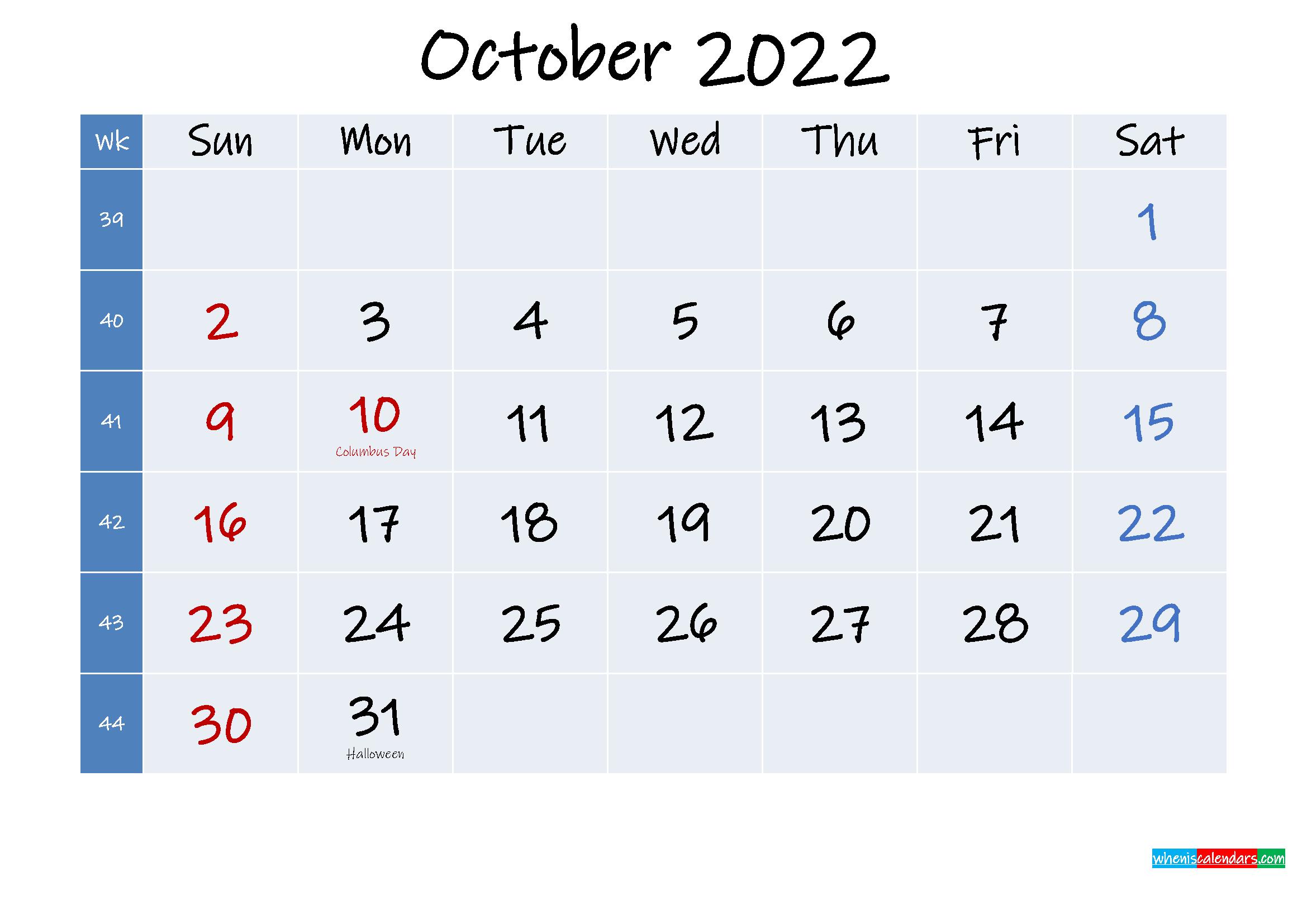 Printable October 2022 Calendar with Holidays