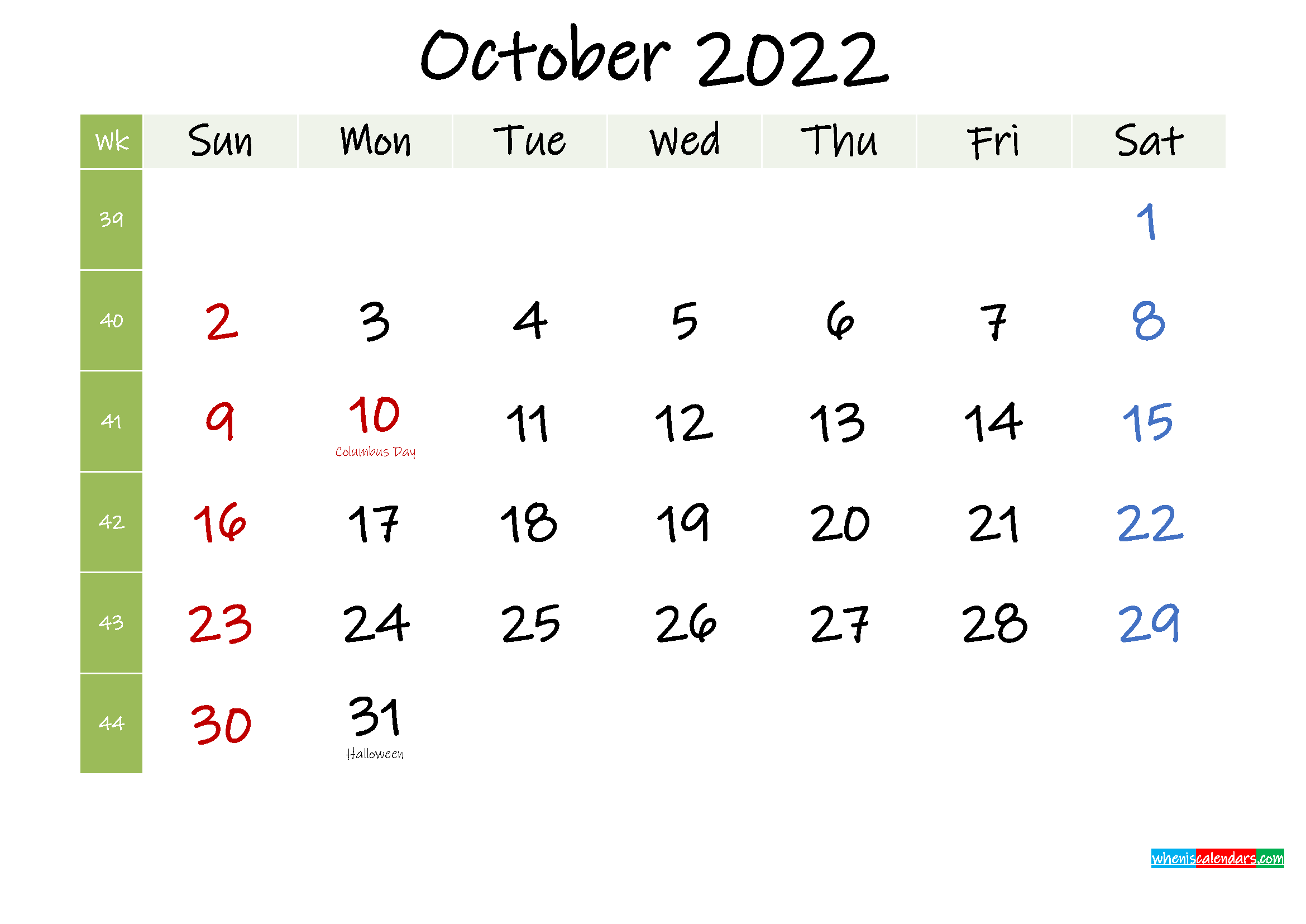 Free October 2022 Printable Calendar with Holidays