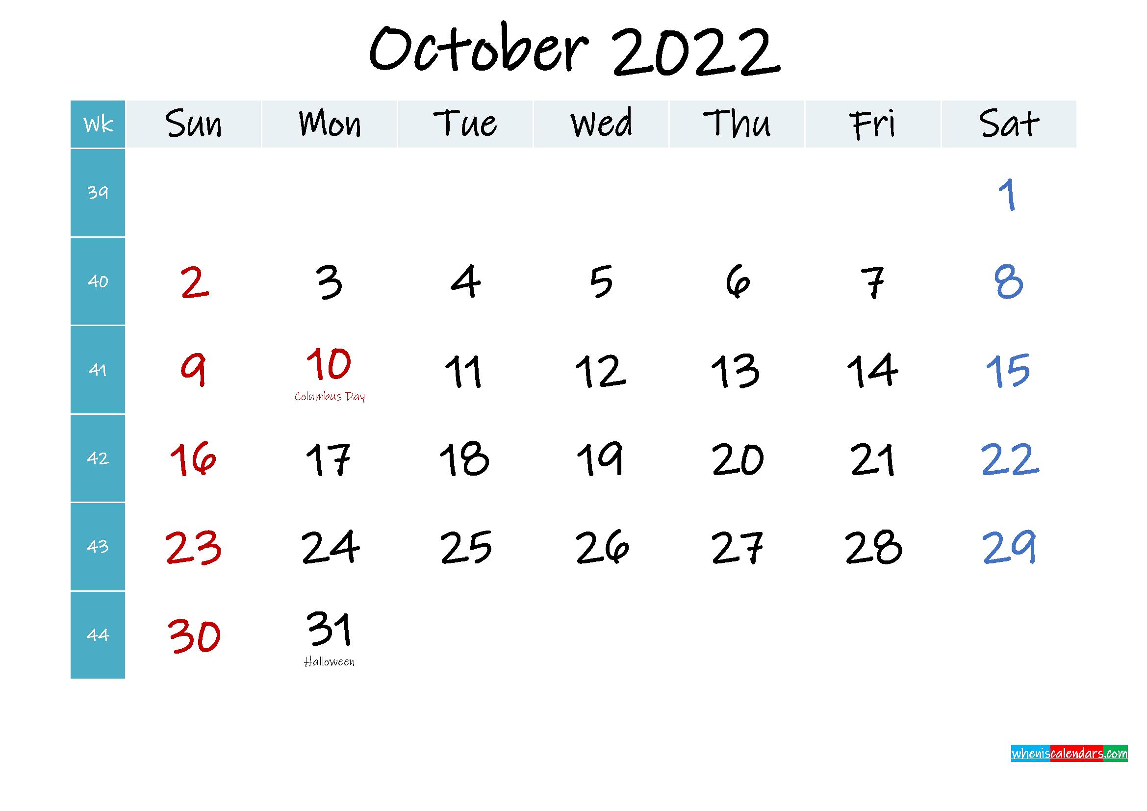 October 2022 Free Printable Calendar