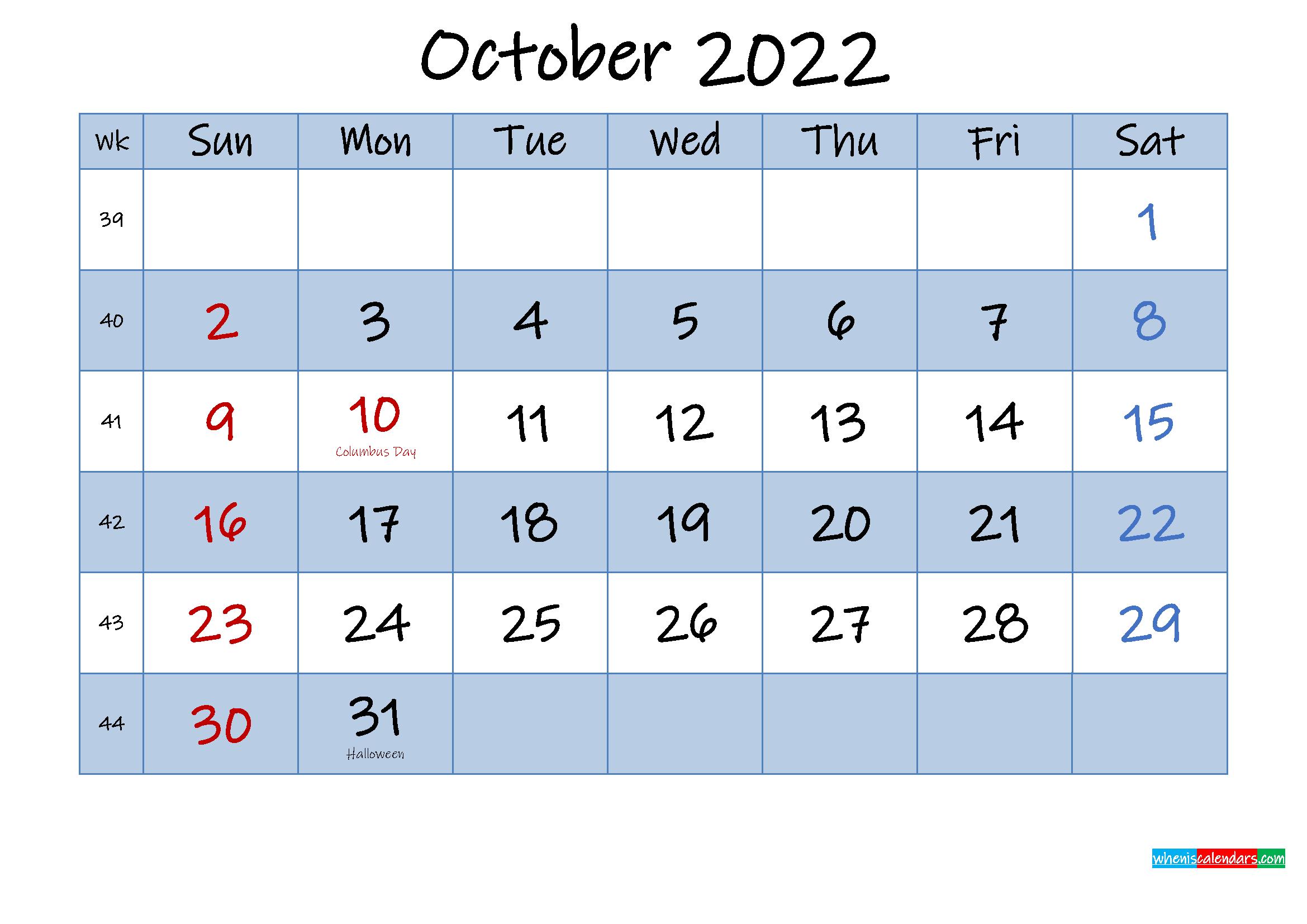 Free October 2022 Monthly Calendar PDF
