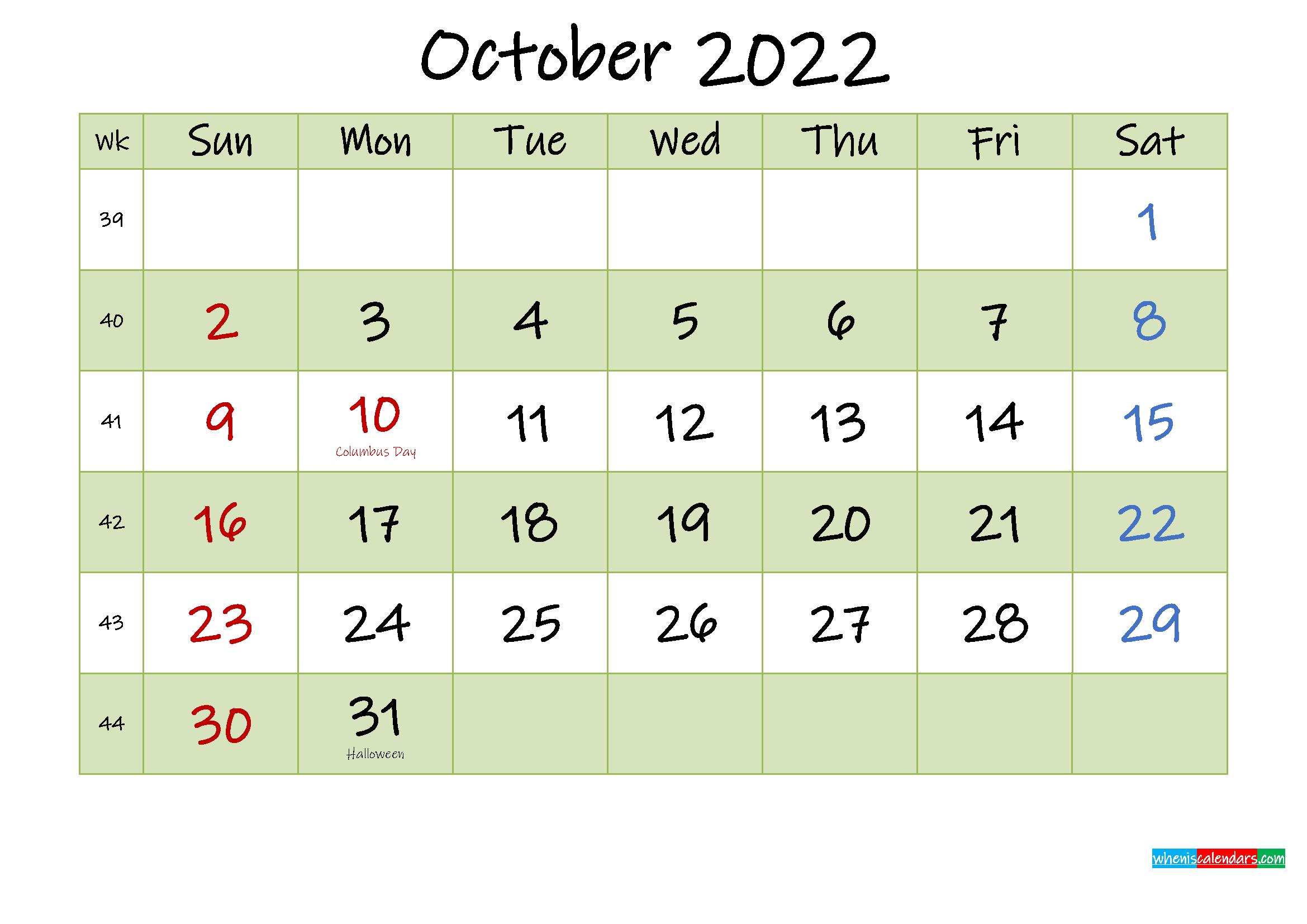 October 2022 Calendar with Holidays Printable