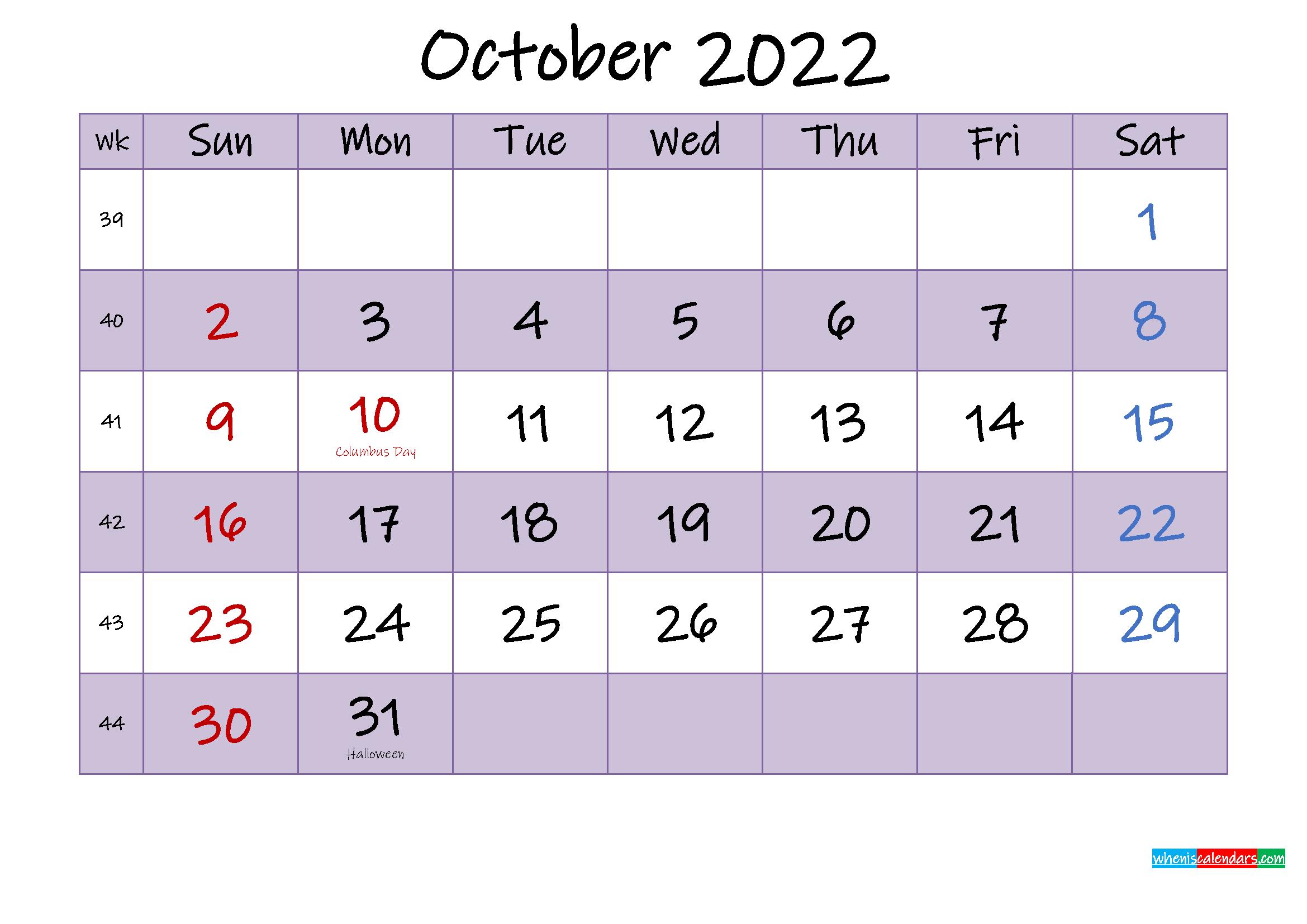 Editable October 2022 Calendar