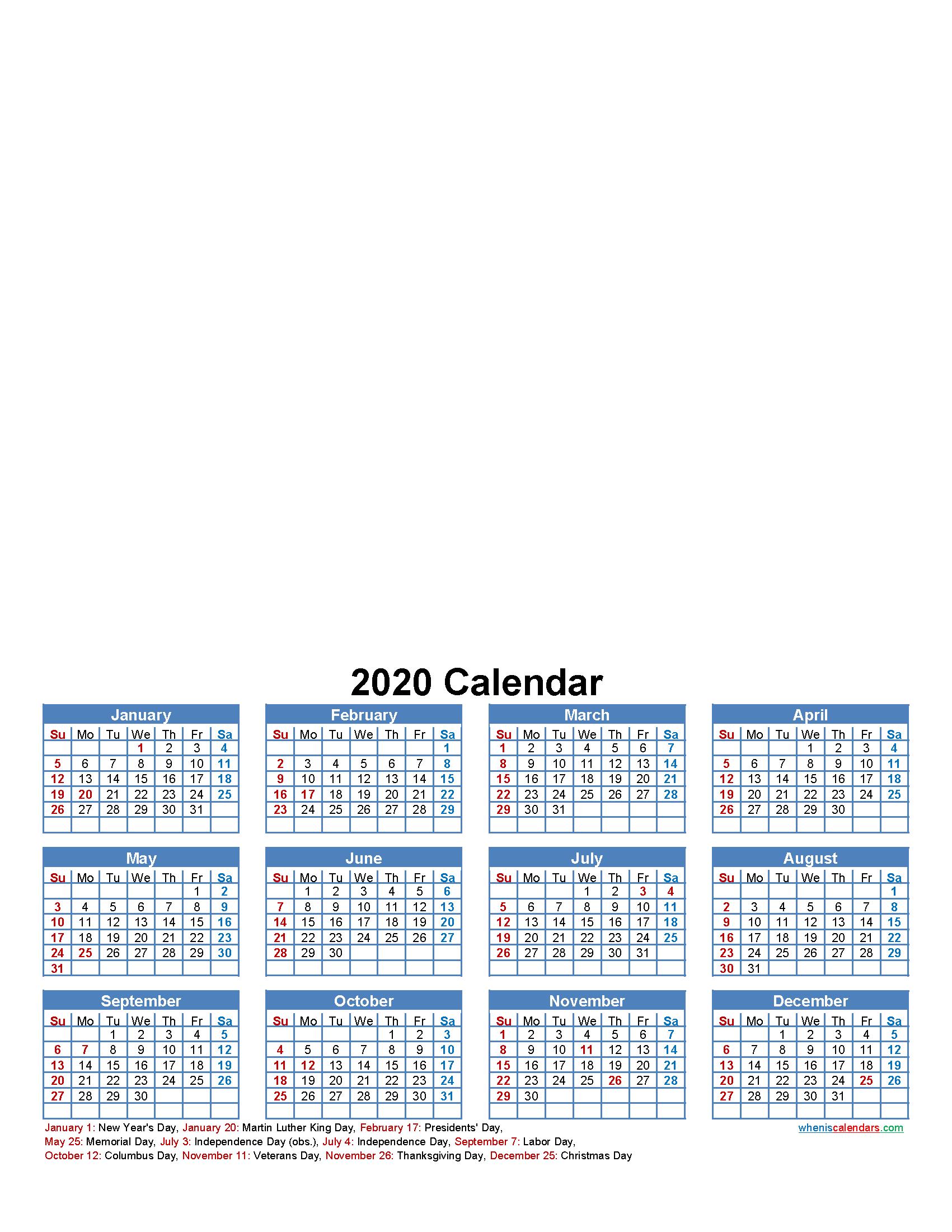 Custom Photo Calendar 2020 Word, PDF