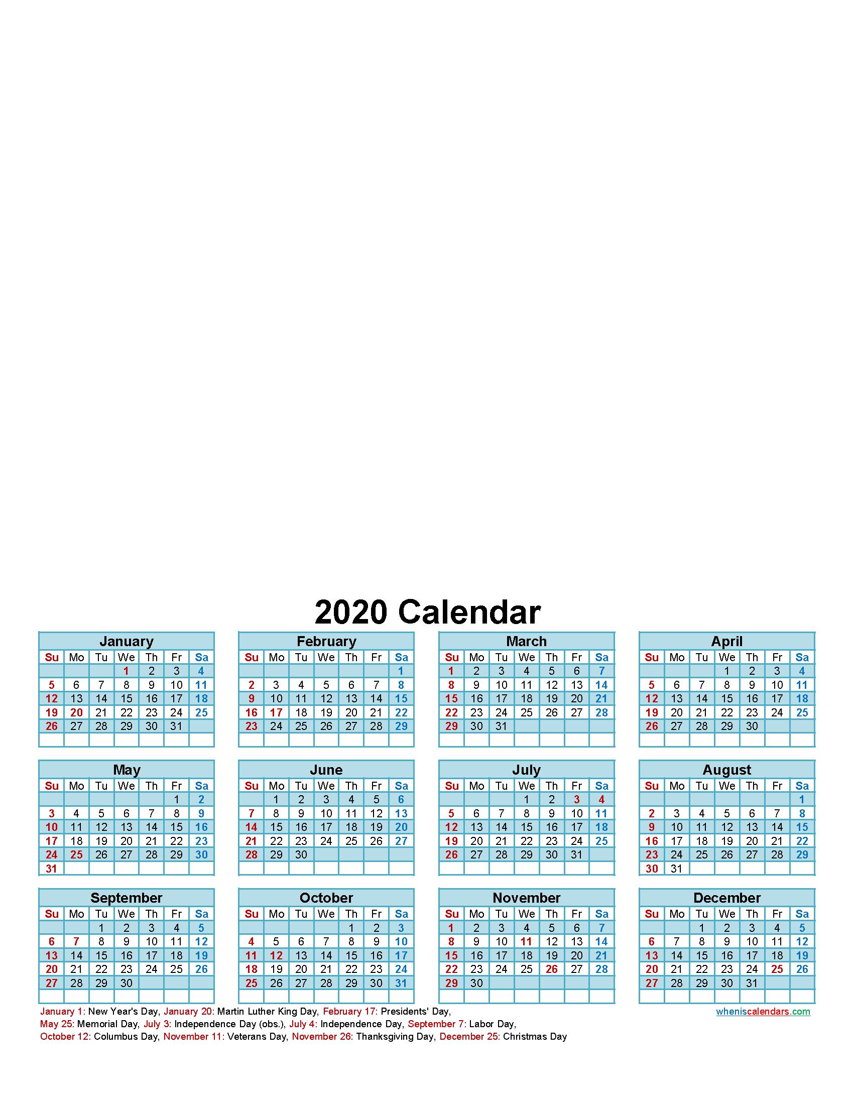 Design Your Own Calendar 2020