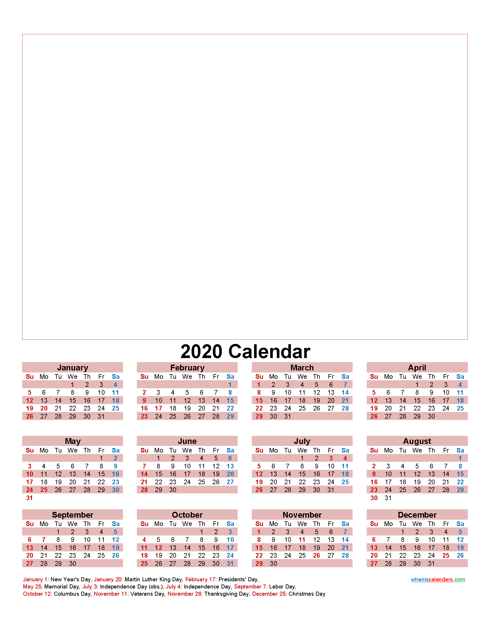 Make Your Own Calendar Free 2020