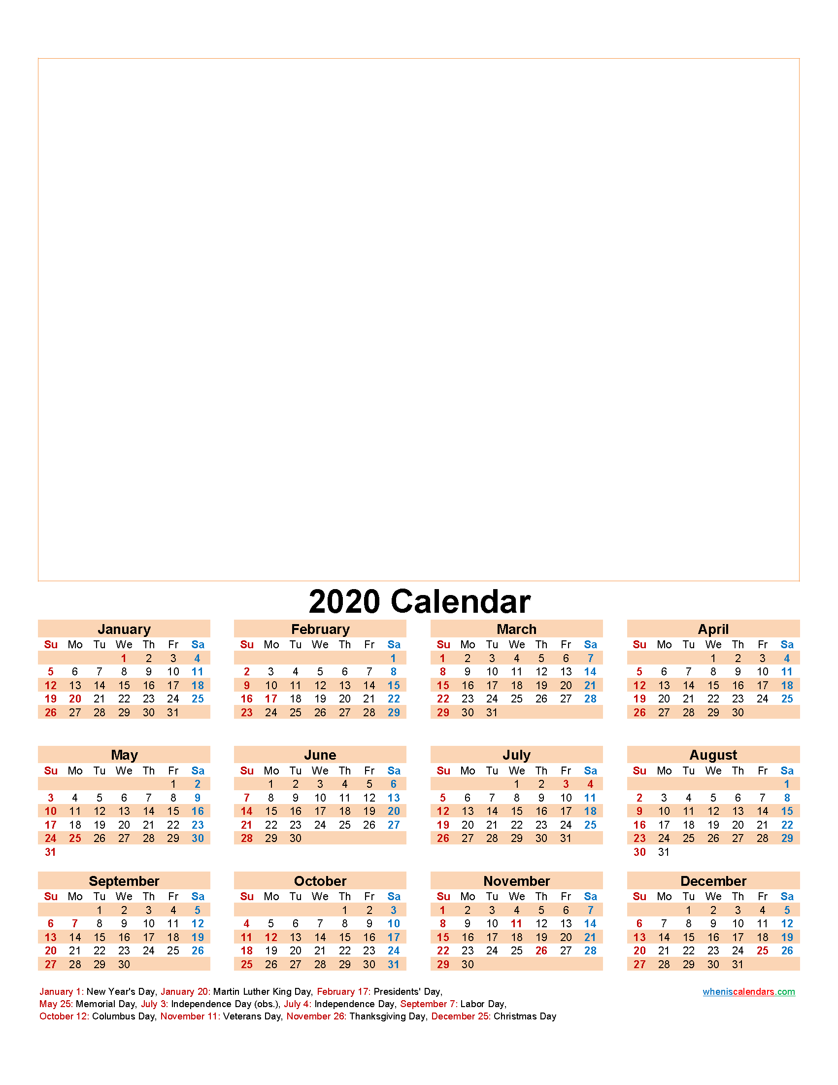 Design Your Own Calendar 2020