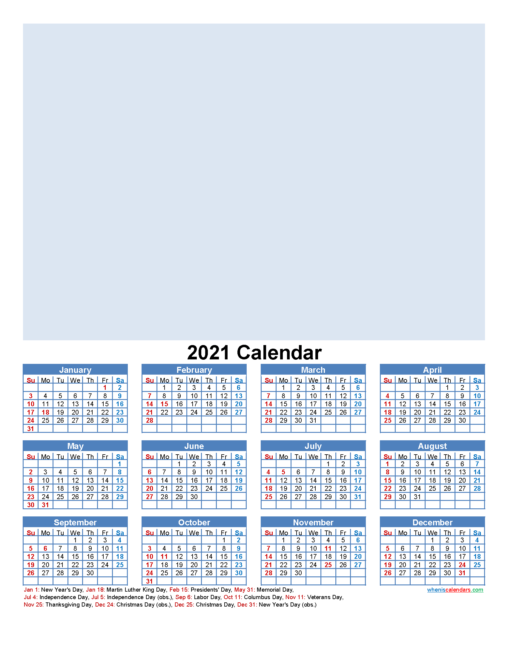 Custom Photo Calendar 2021 Word, PDF