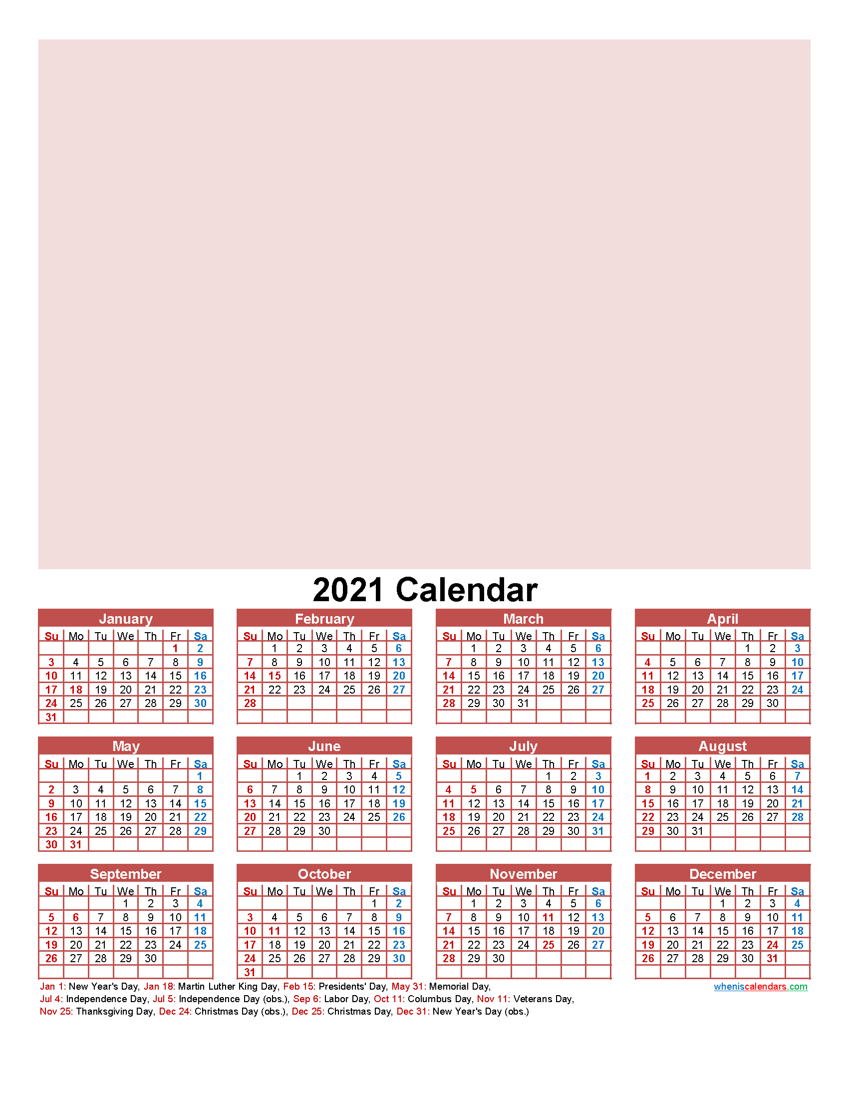 Make Your Own Calendar Free 2021