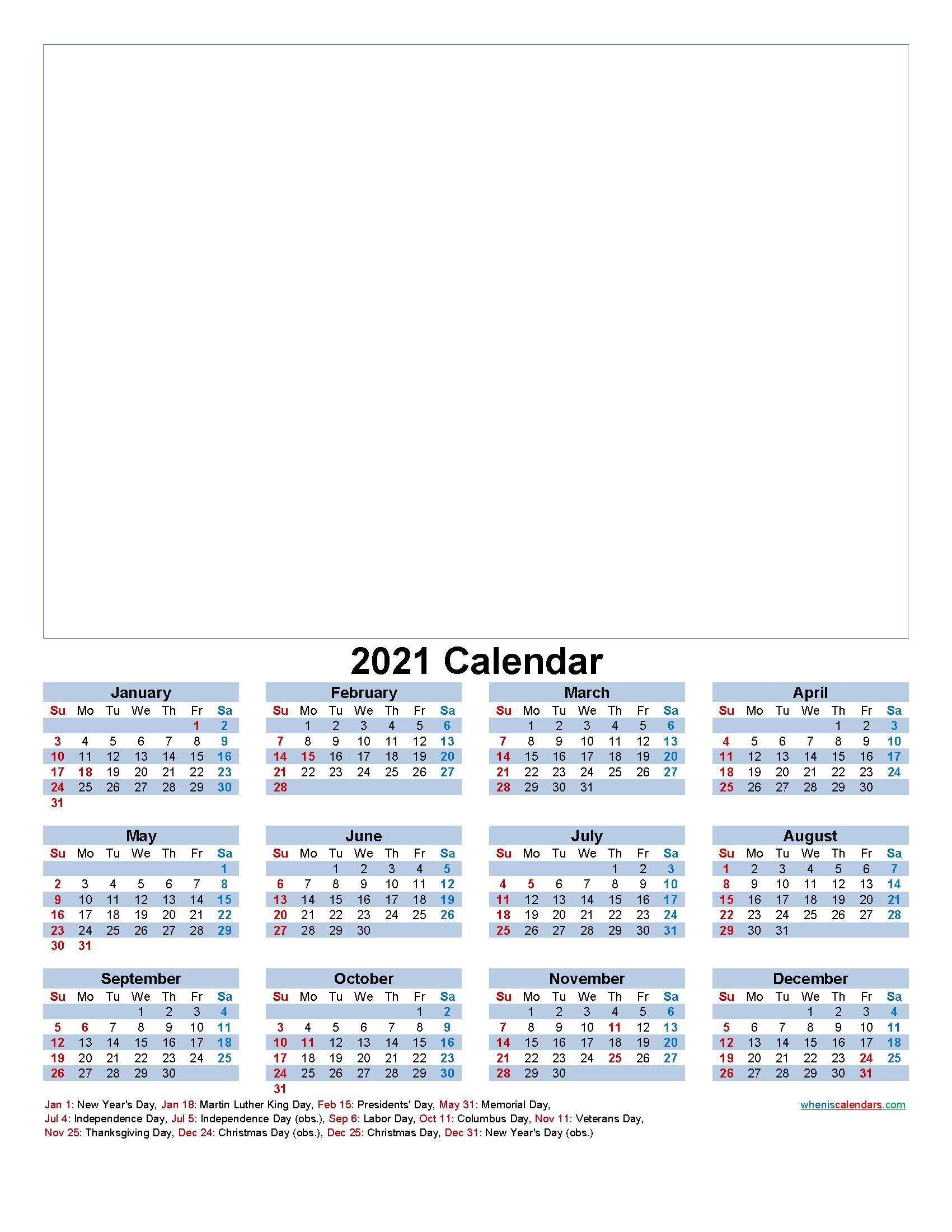 Custom Photo Calendar 2021 Word, PDF - Template No.f21y37