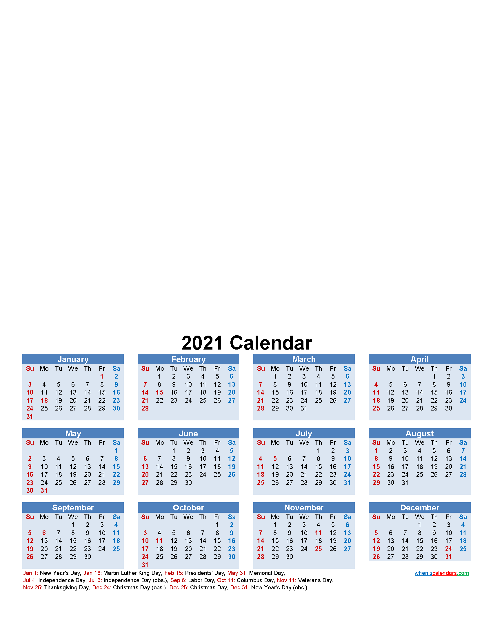 Custom Photo Calendar 2021 Word, PDF