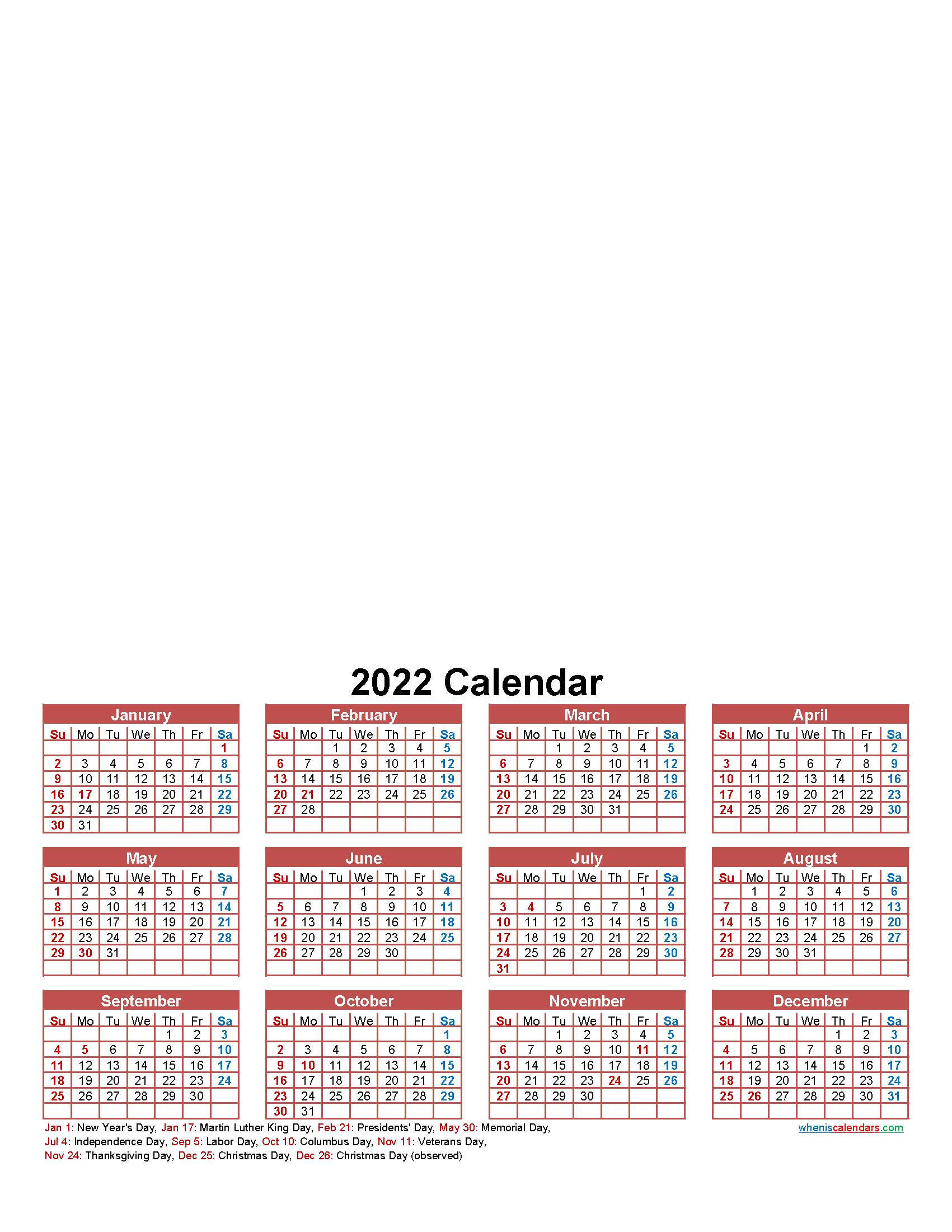 Make Your Own Calendar Free 2022