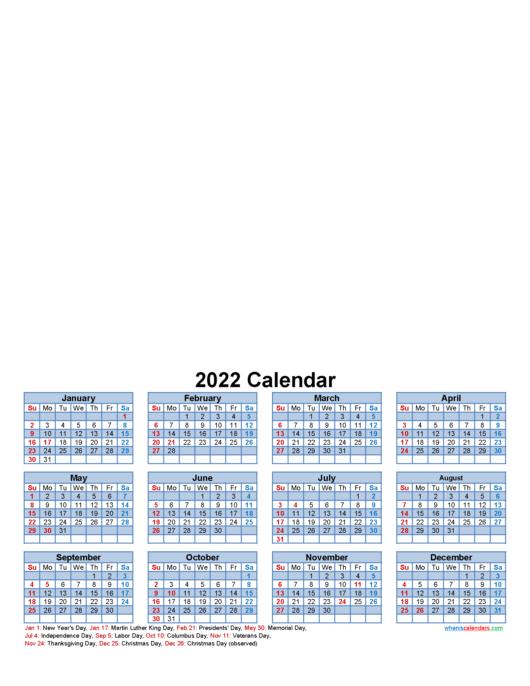 Custom Photo Calendar 2022 Word, PDF