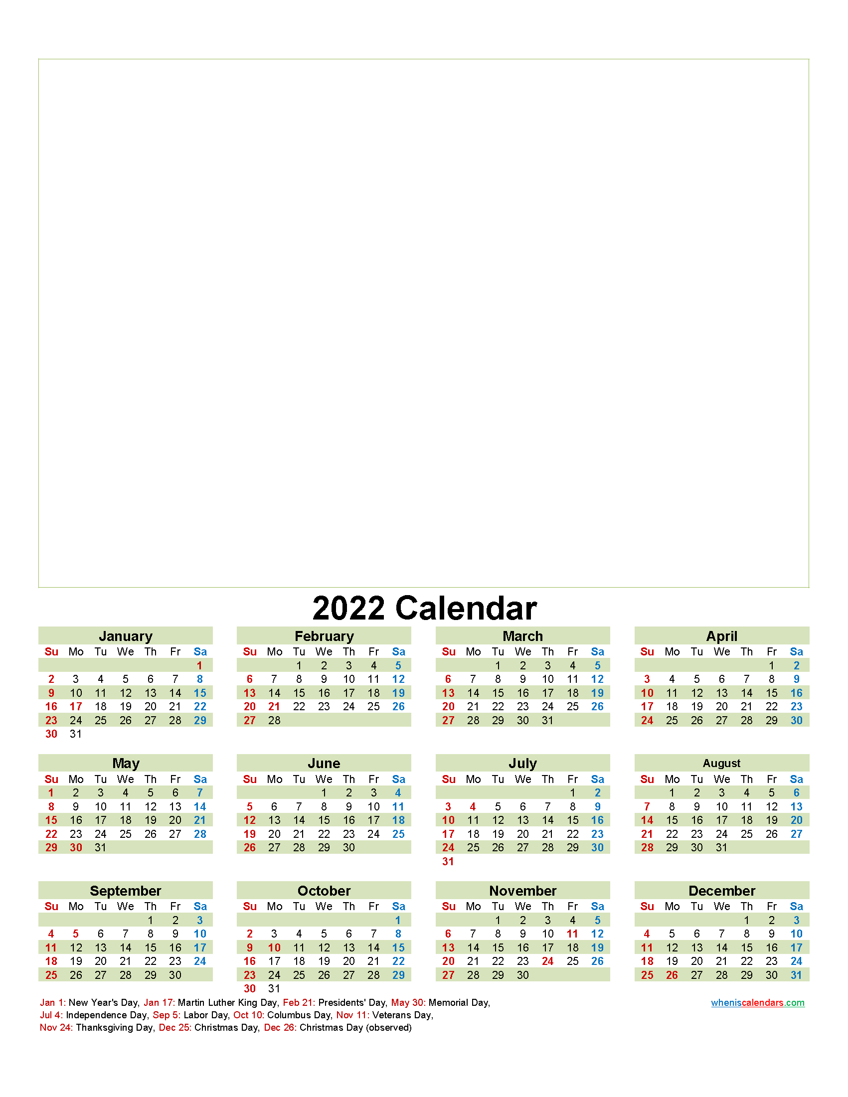 Personalised Photo Calendar 2022