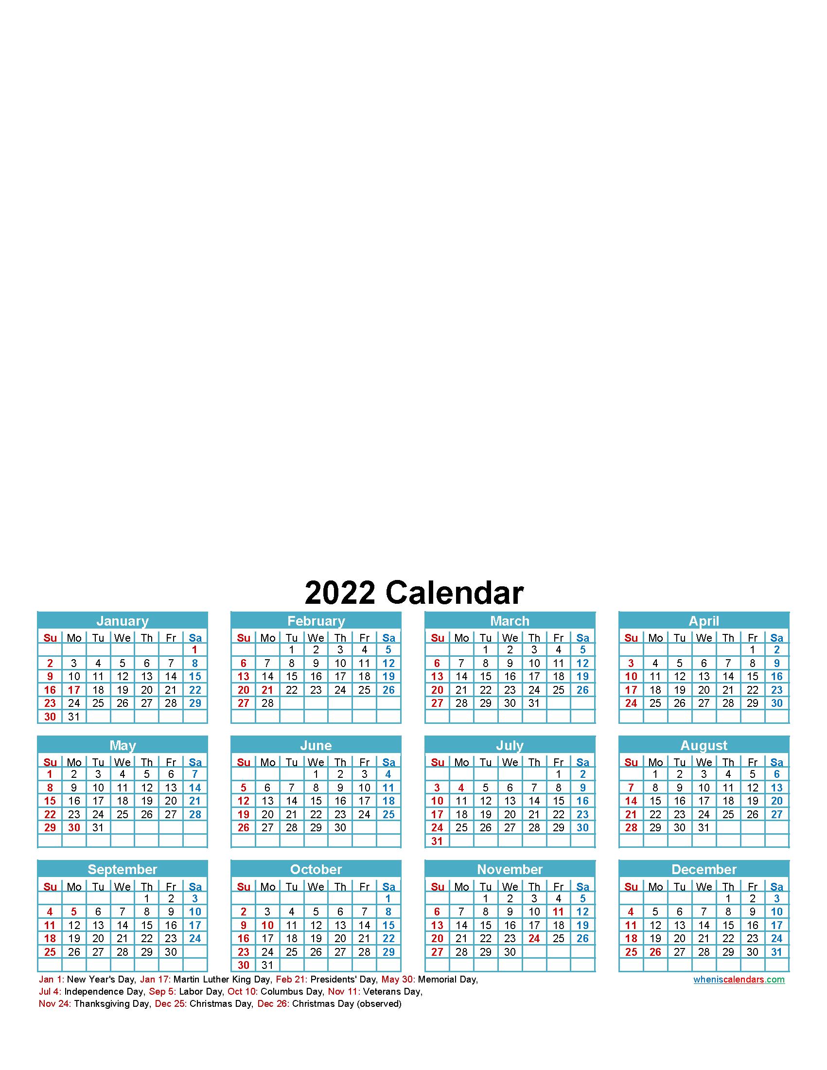 Design Your Own Calendar 2022