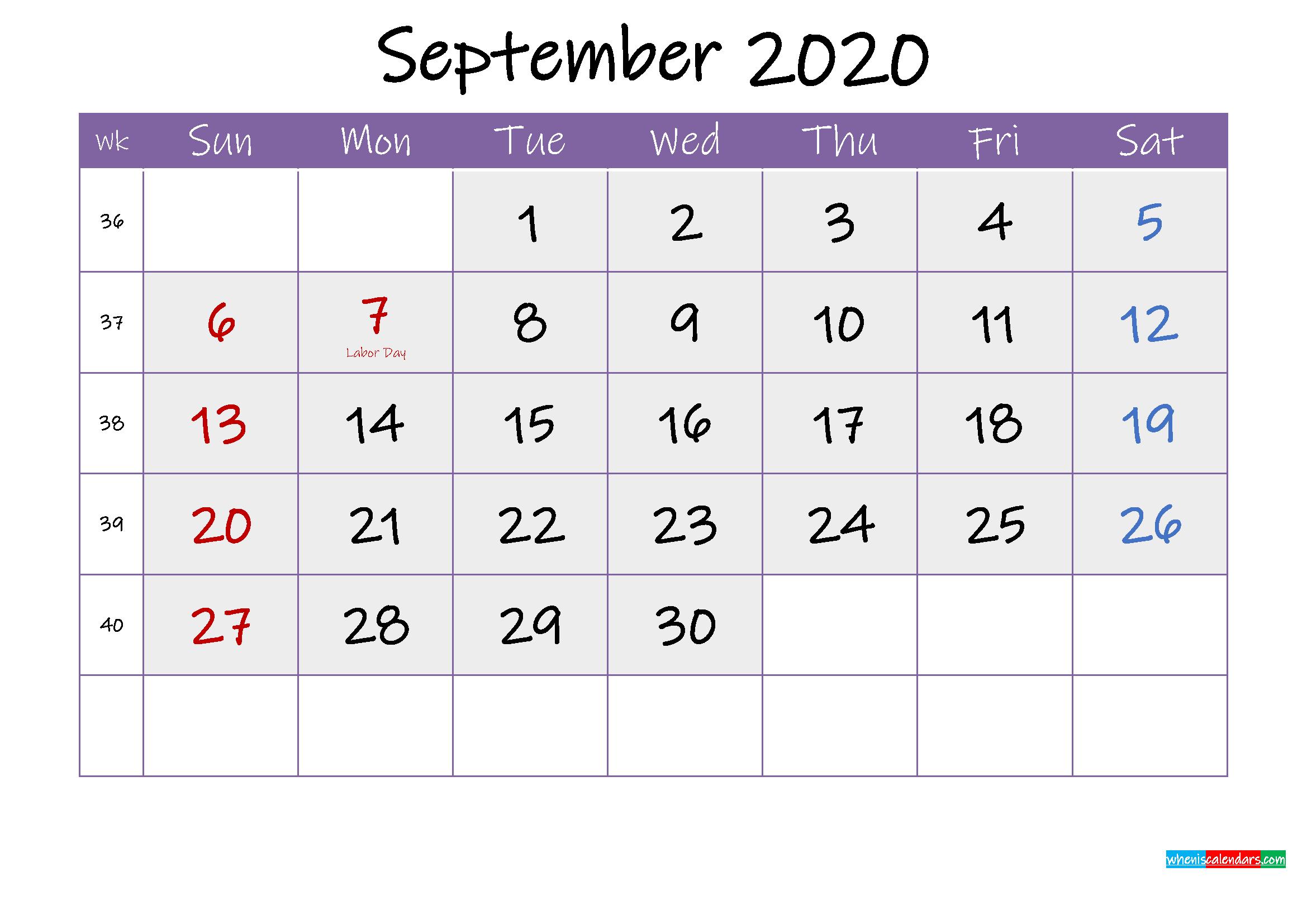 Free September 2020 Printable Calendar with Holidays