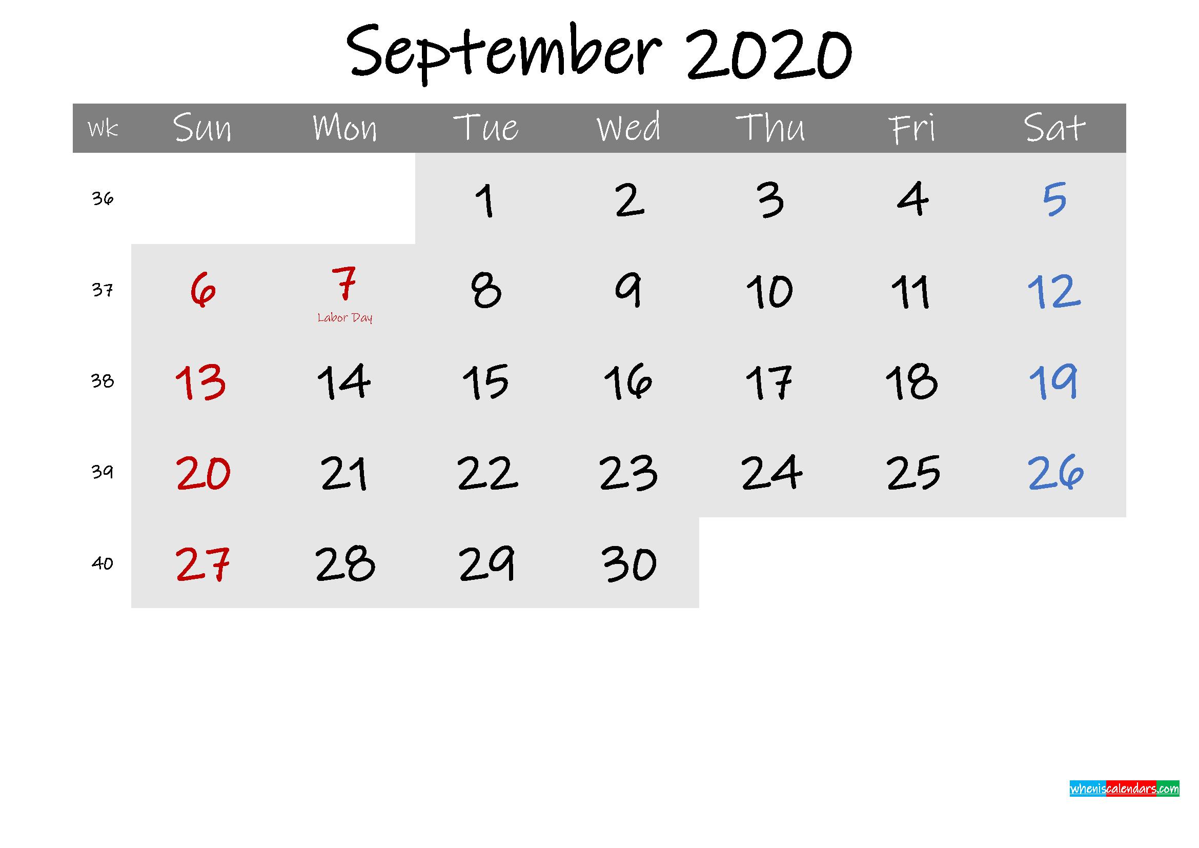 Free September 2020 Monthly Calendar Template Word