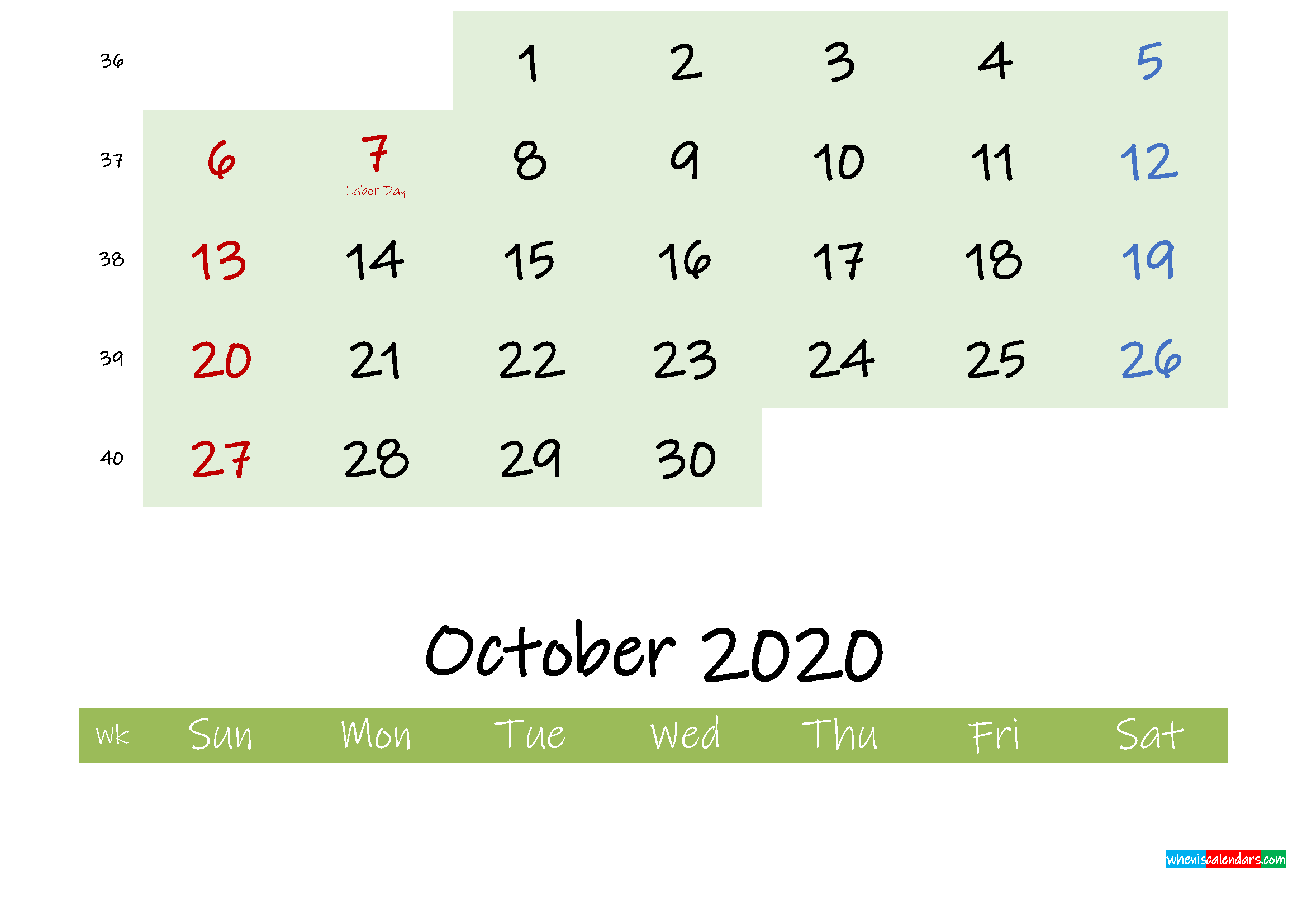 September 2020 Calendar with Holidays Printable