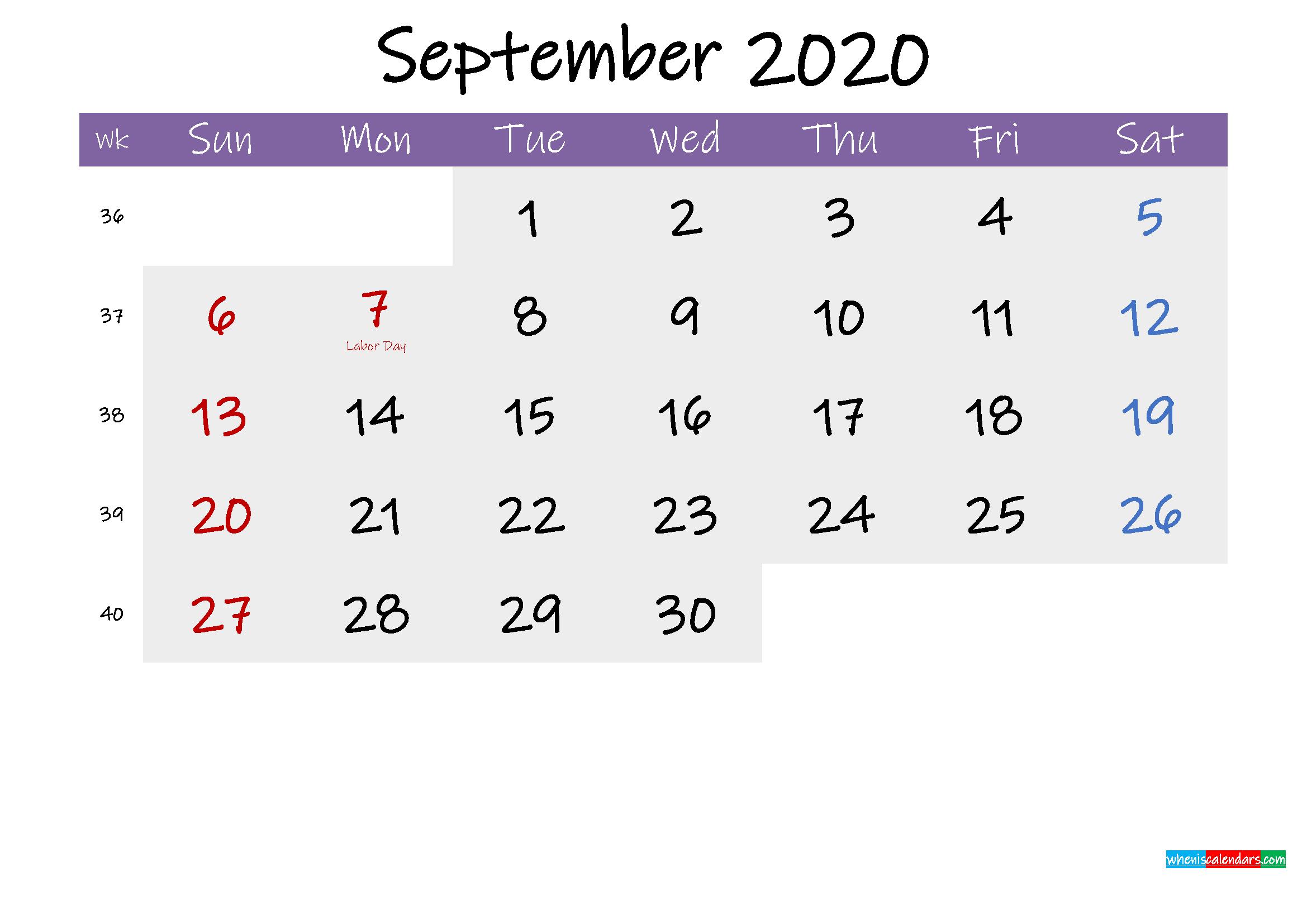 View Free Printable Editable Microsoft Word Free Printable Editable Printable Calendar September 2020 JPG