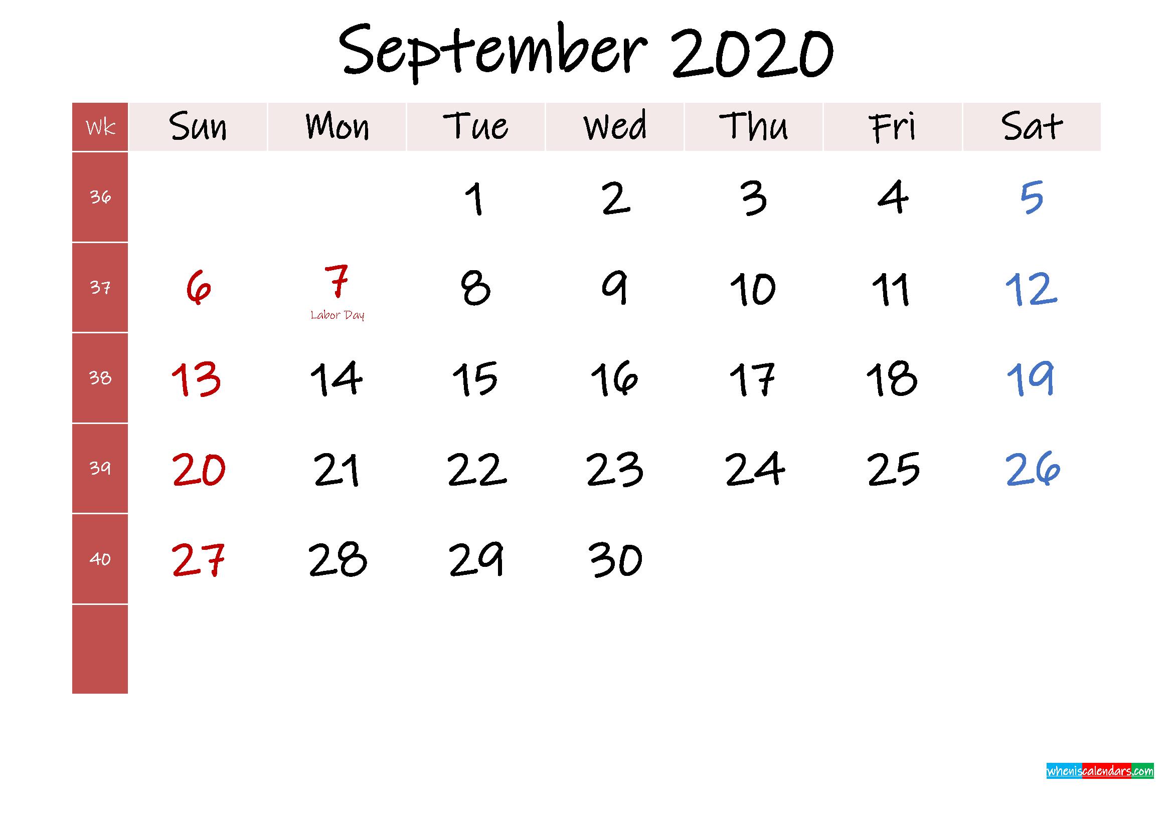 September 2020 Free Printable Calendar