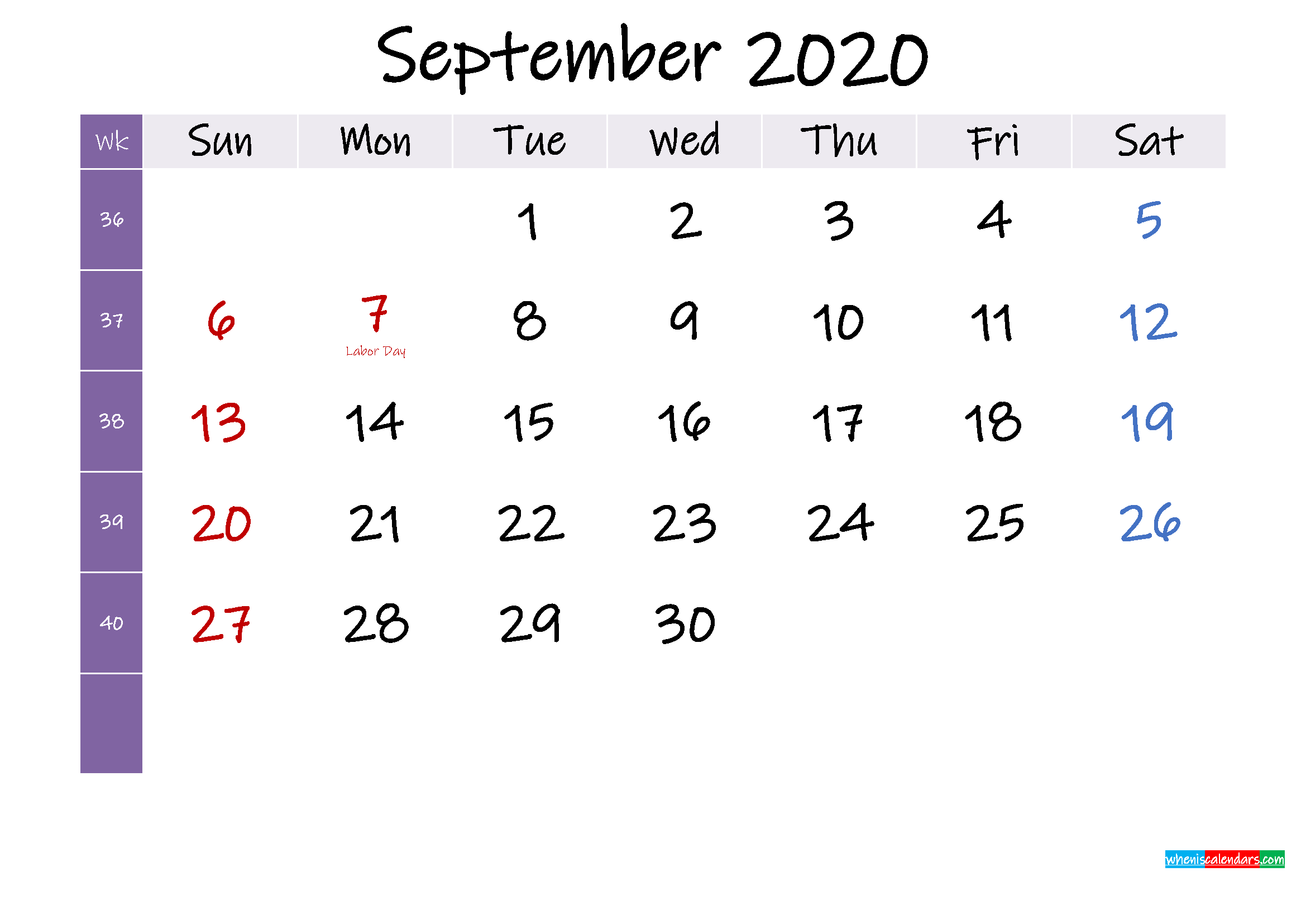 September 2020 Free Printable Calendar with Holidays