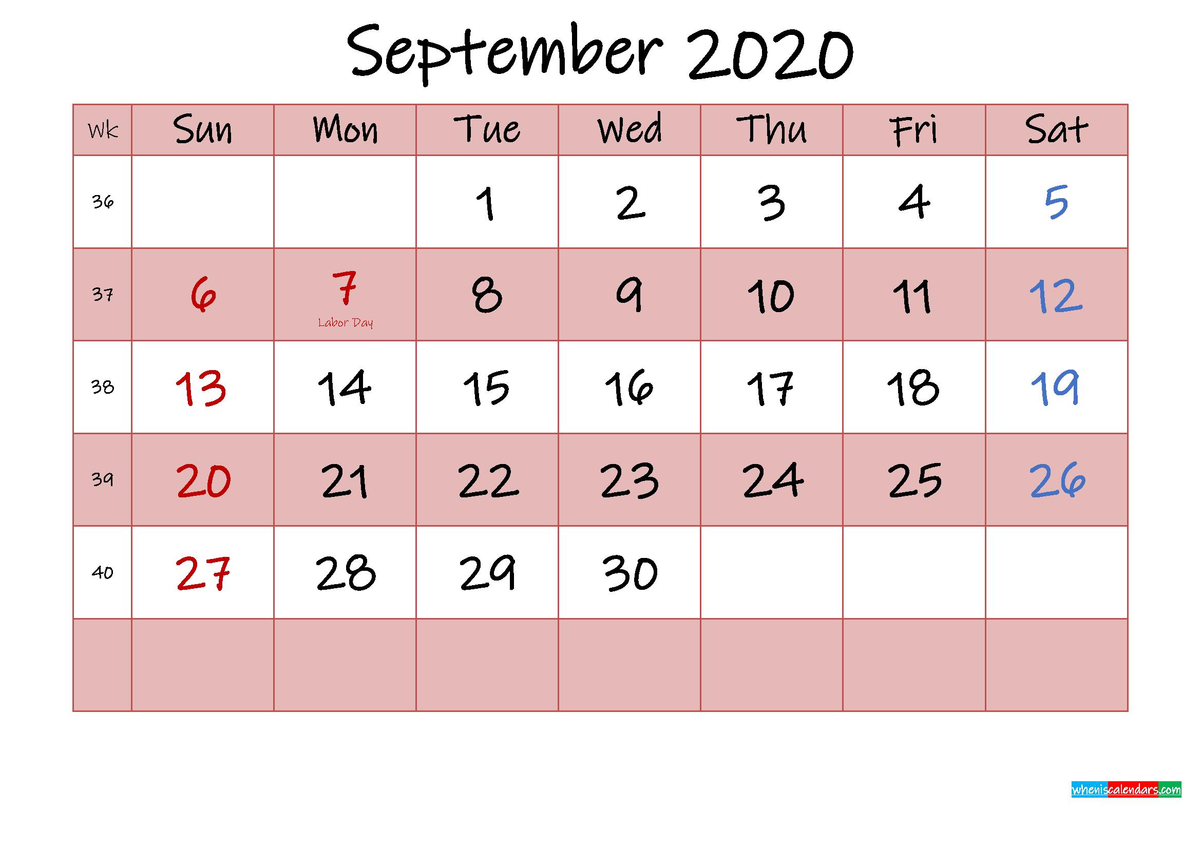 Free Printable Coloring Calendar 2020 September