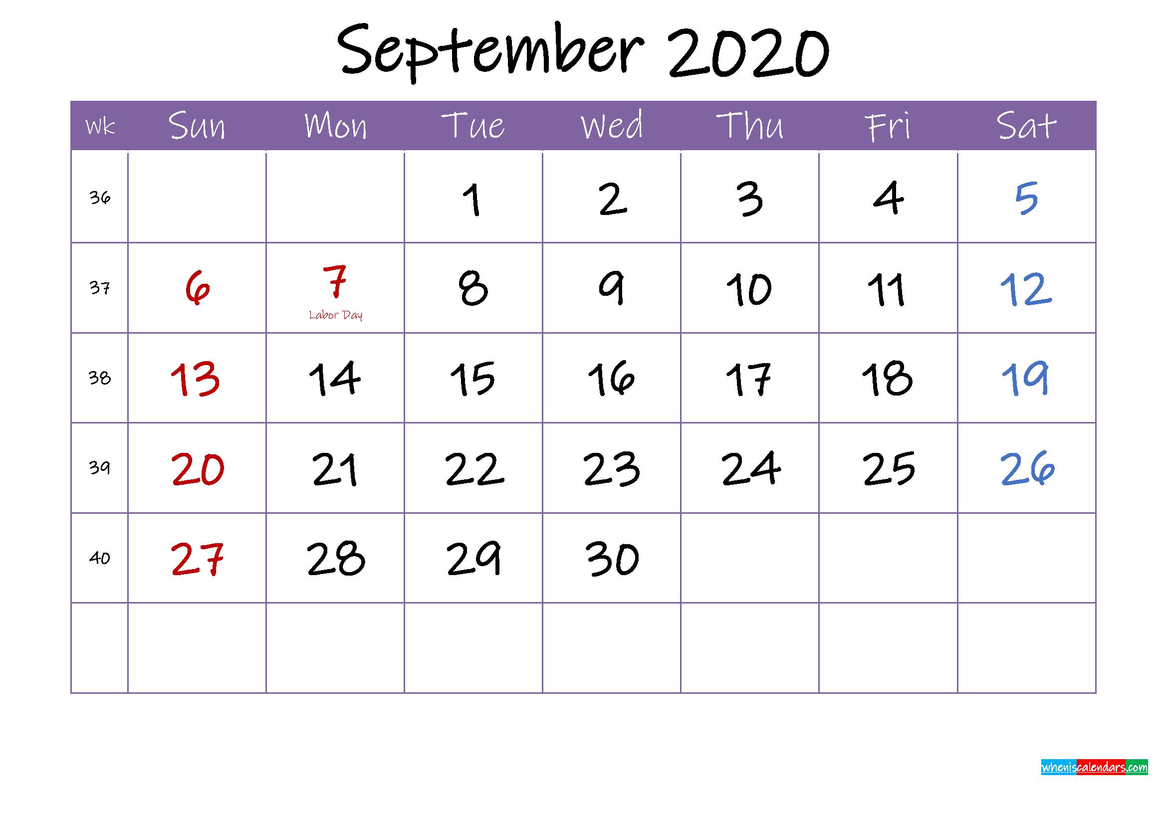 September 2020 Calendar with Holidays Printable