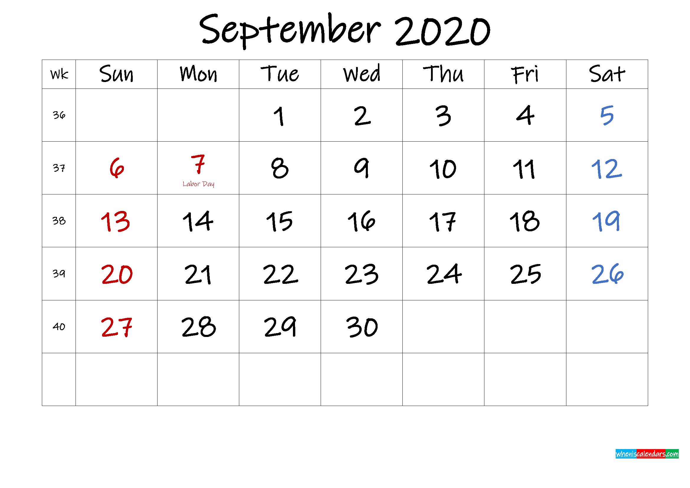 September 2020 Free Printable Calendar with Holidays