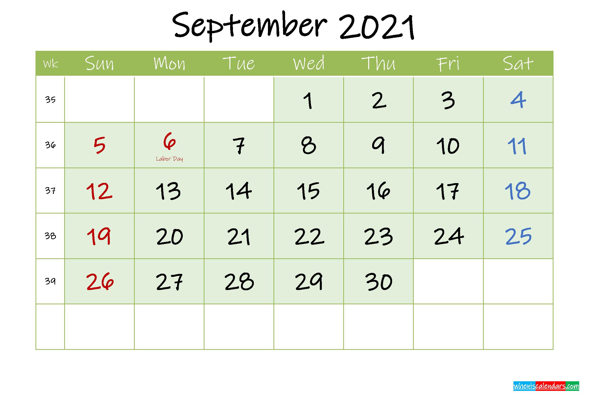 September 2021 Free Printable Calendar
