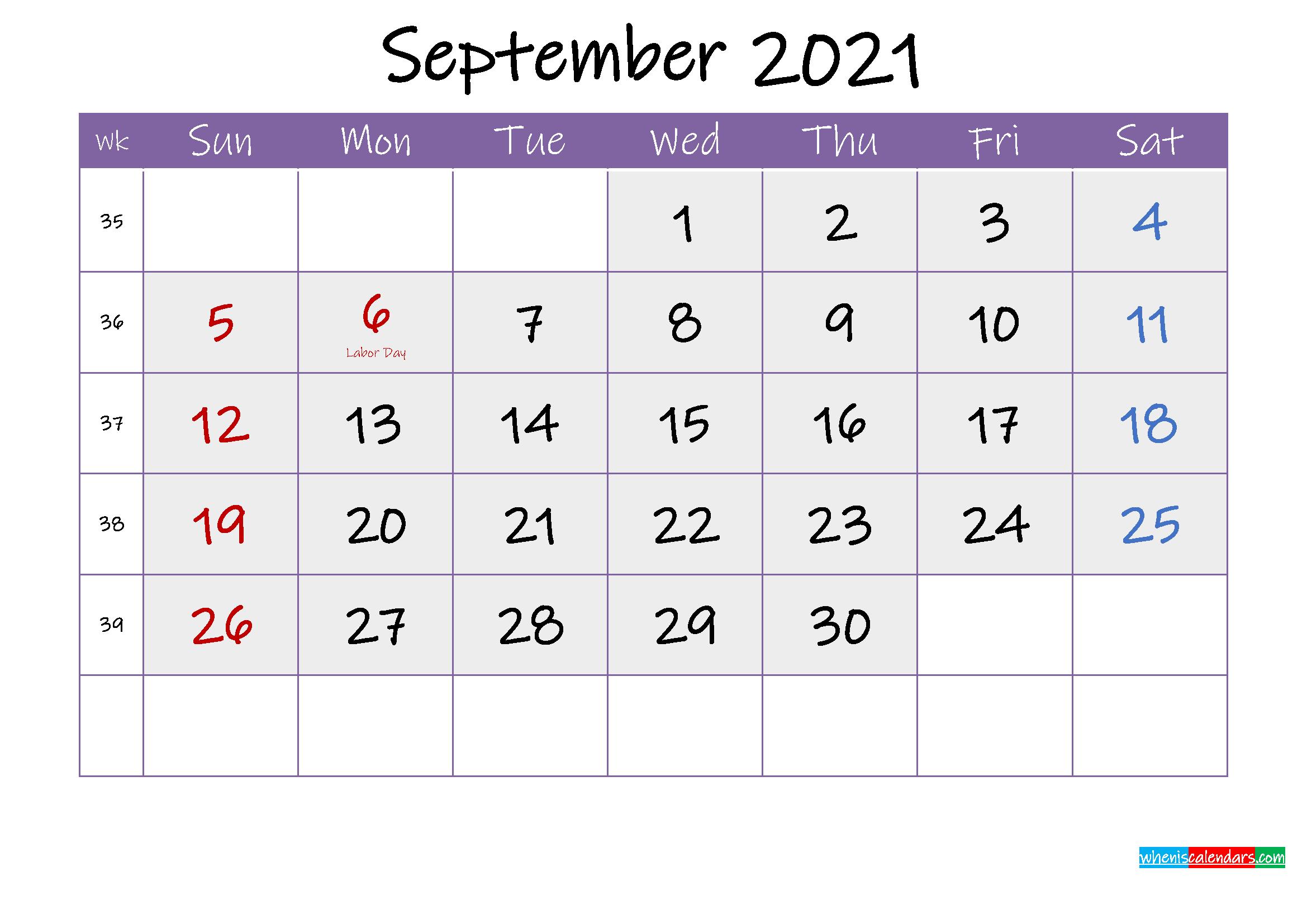 Free September 2021 Printable Calendar with Holidays