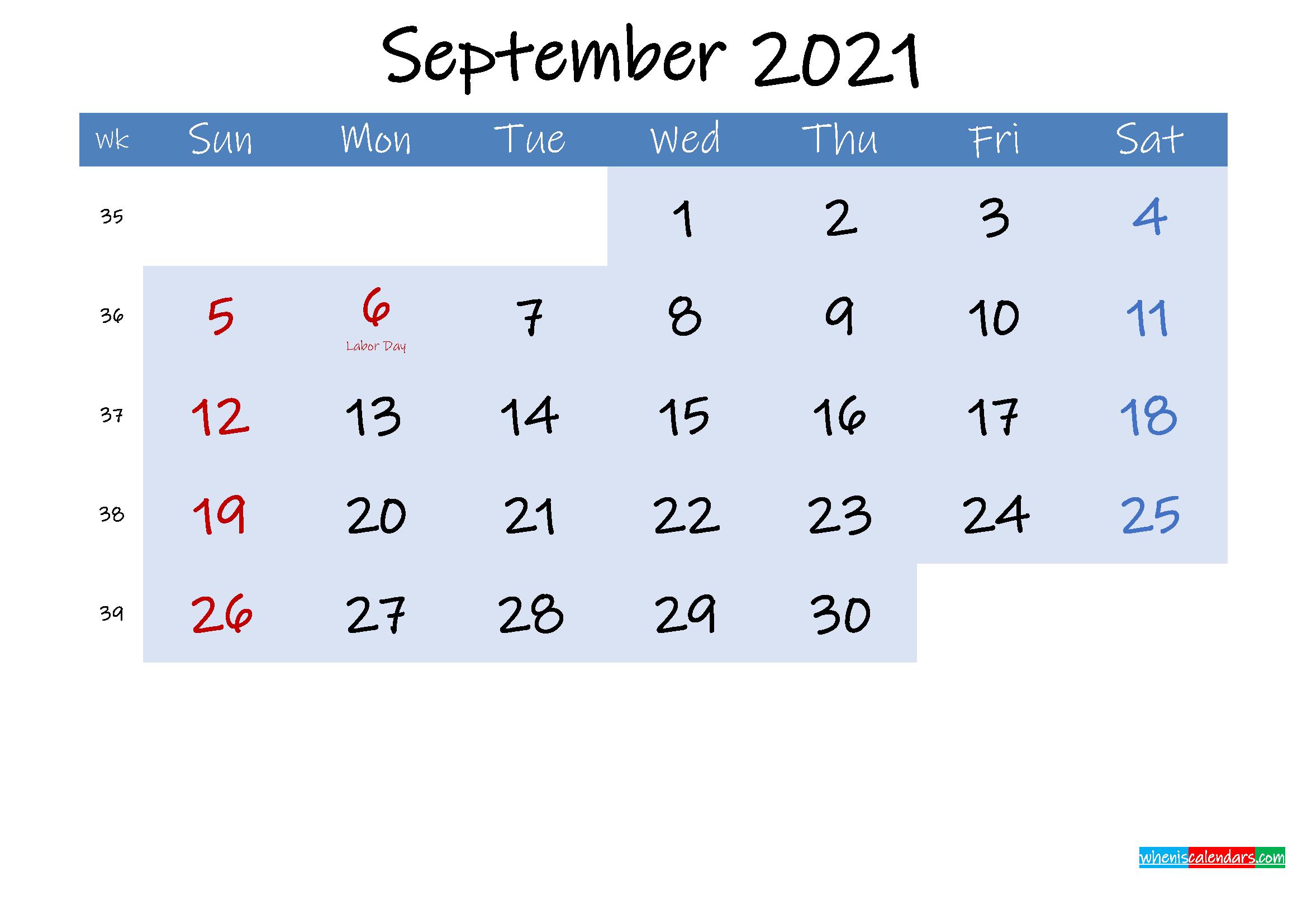 Free September 2021 Monthly Calendar PDF