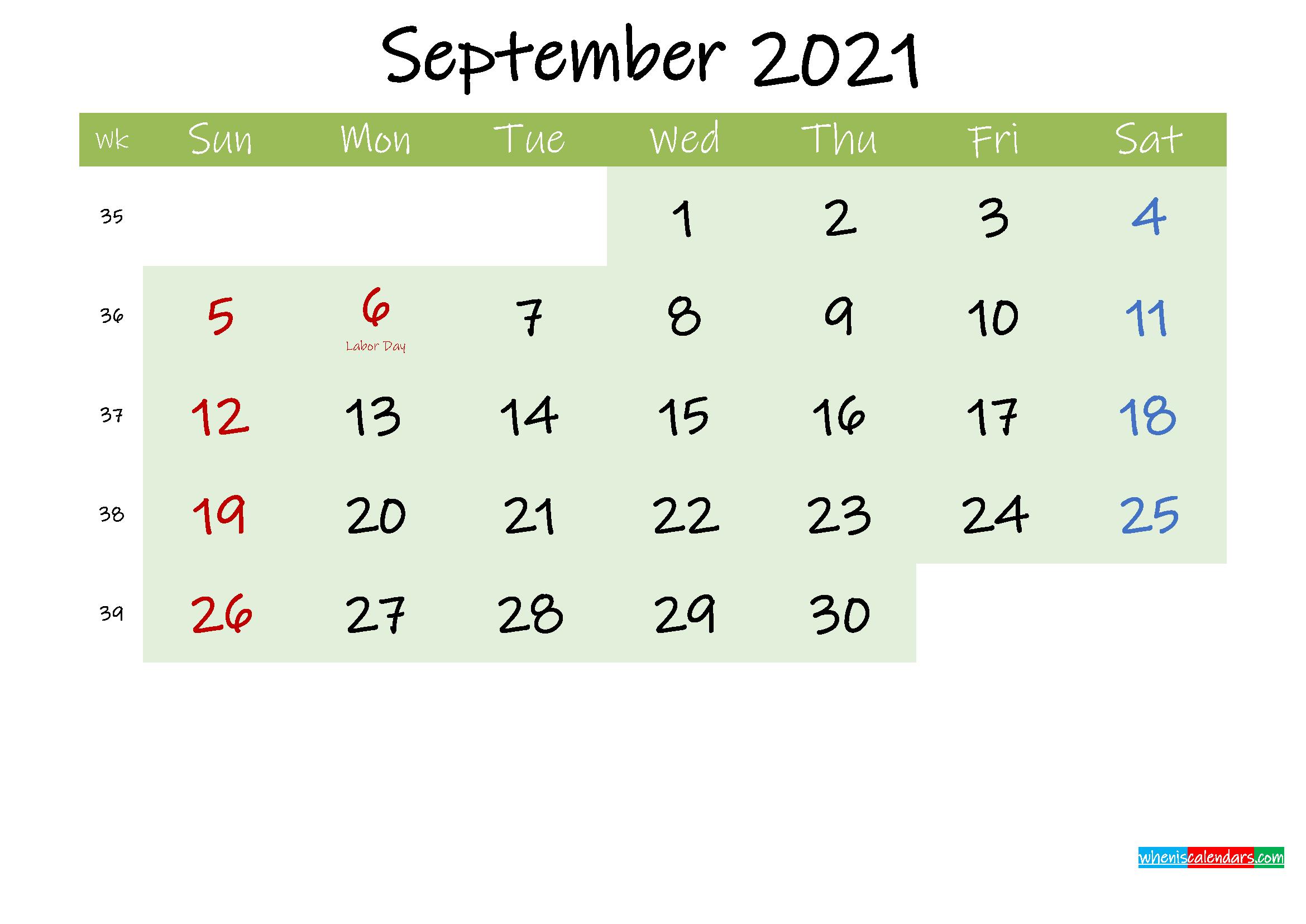 September 2021 Calendar with Holidays Printable