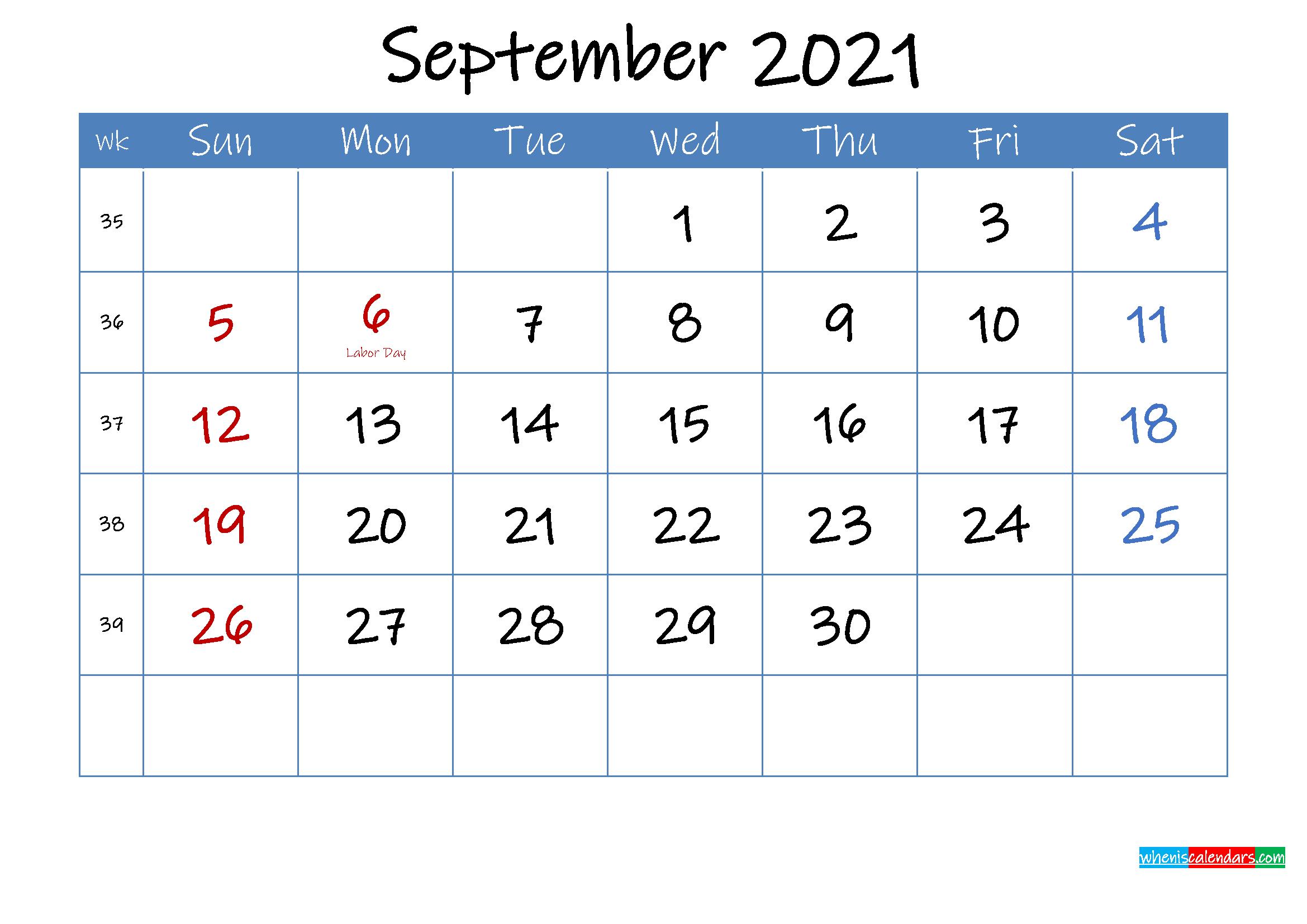 Printable September 2021 Calendar Word
