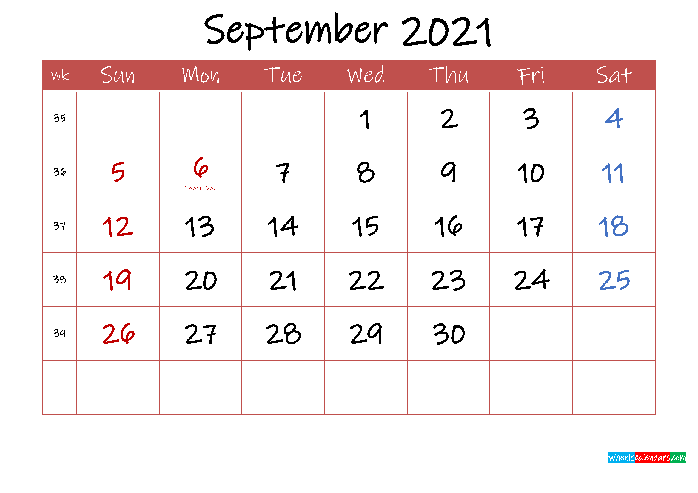 Printable September 2021 Calendar with Holidays - Template ...