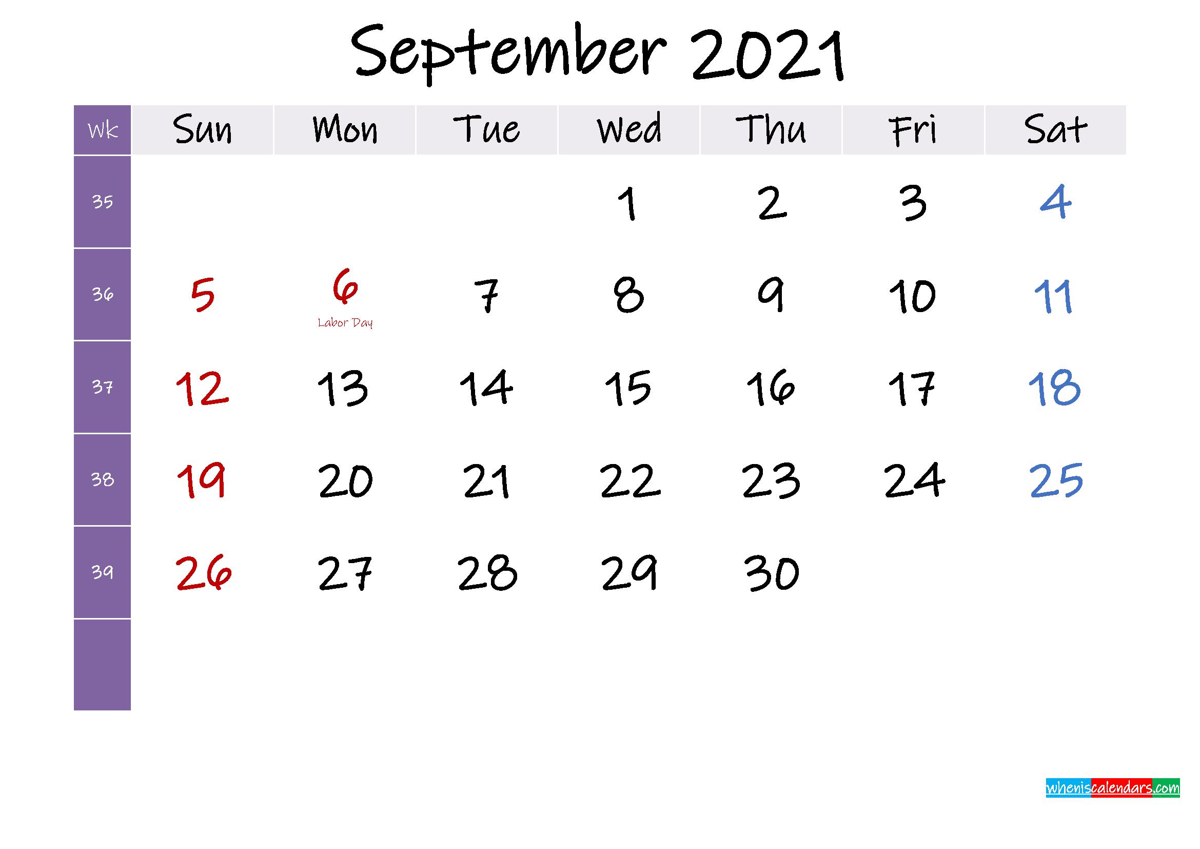 September 2021 Free Printable Calendar with Holidays