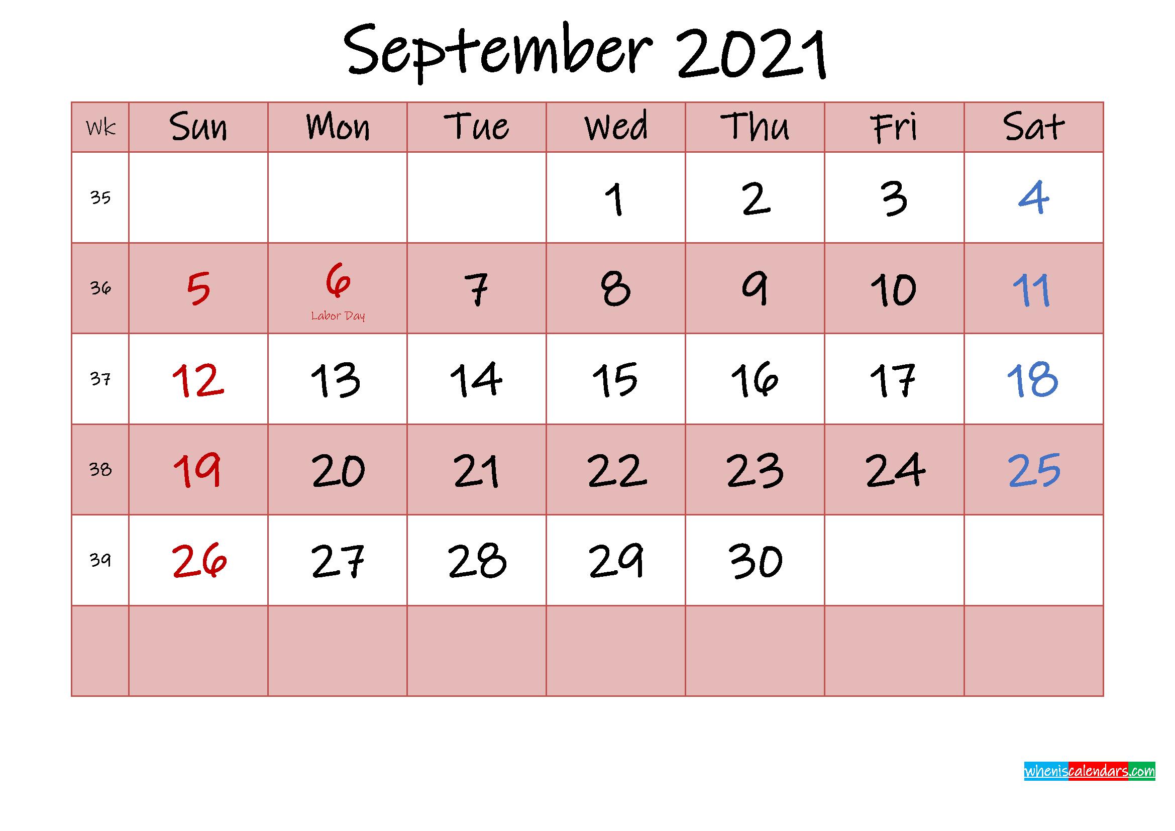 Free Printable Coloring Calendar 2021 September