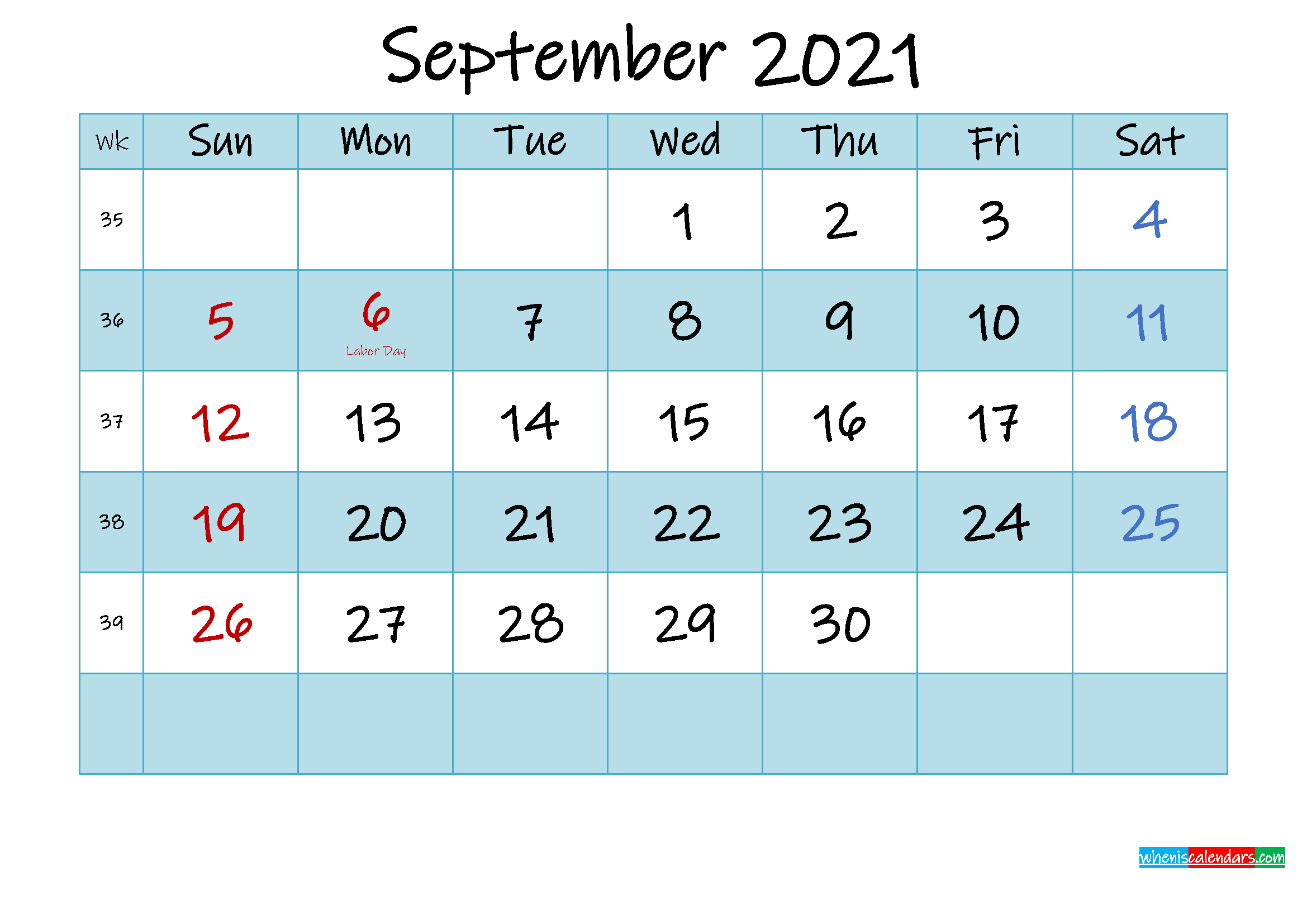 Printable September 2021 Calendar Word