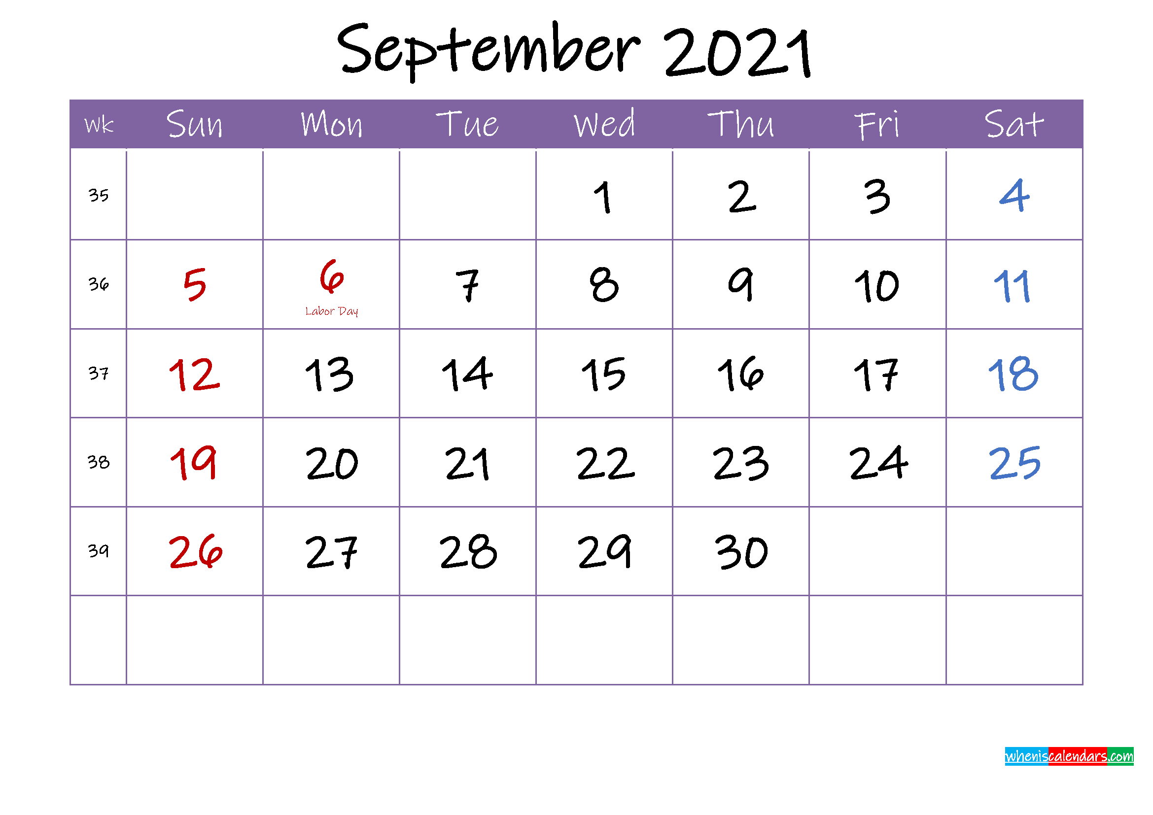 September 2021 Calendar with Holidays Printable