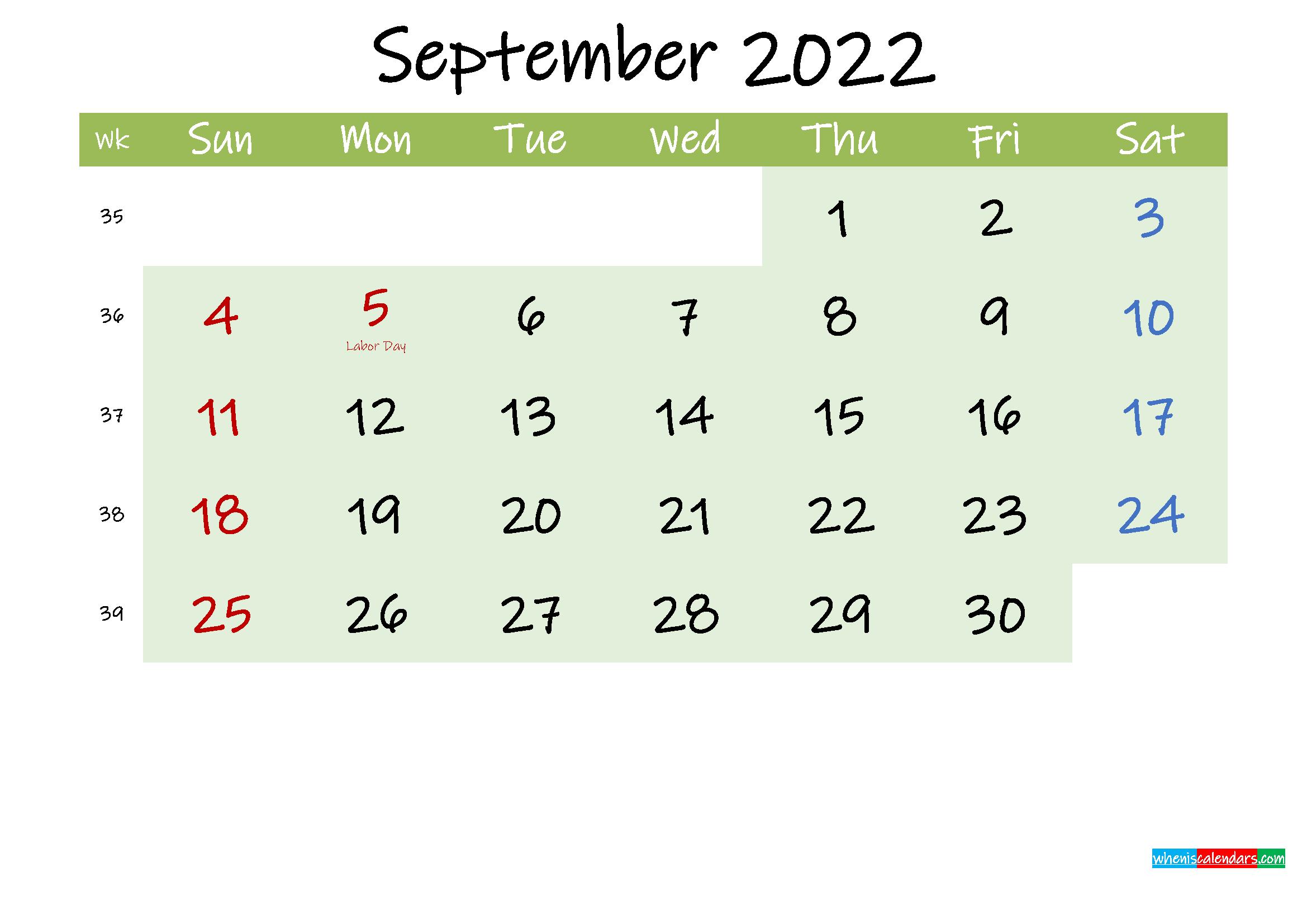 September 2022 Calendar with Holidays Printable