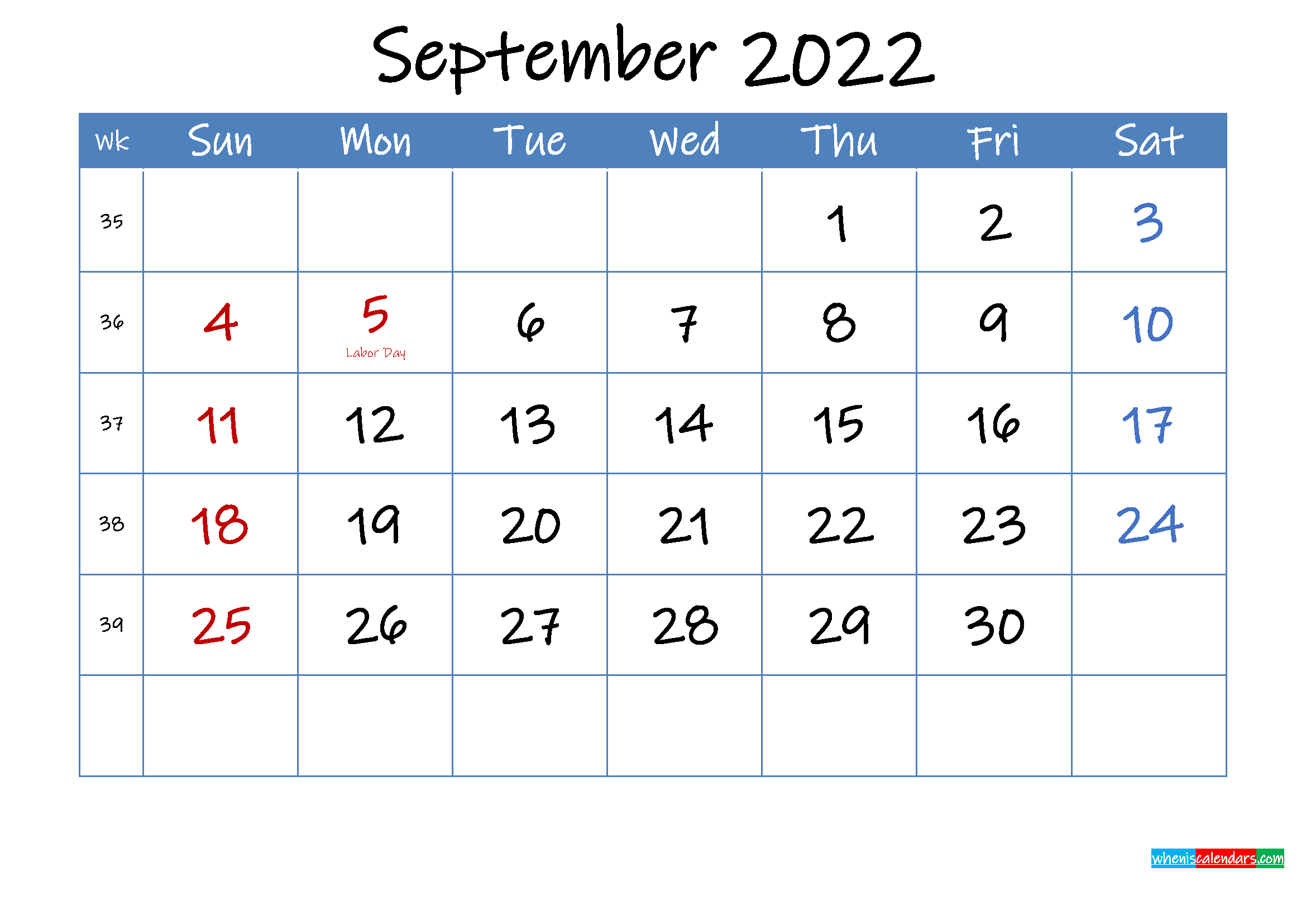 Printable September 2022 Calendar Word