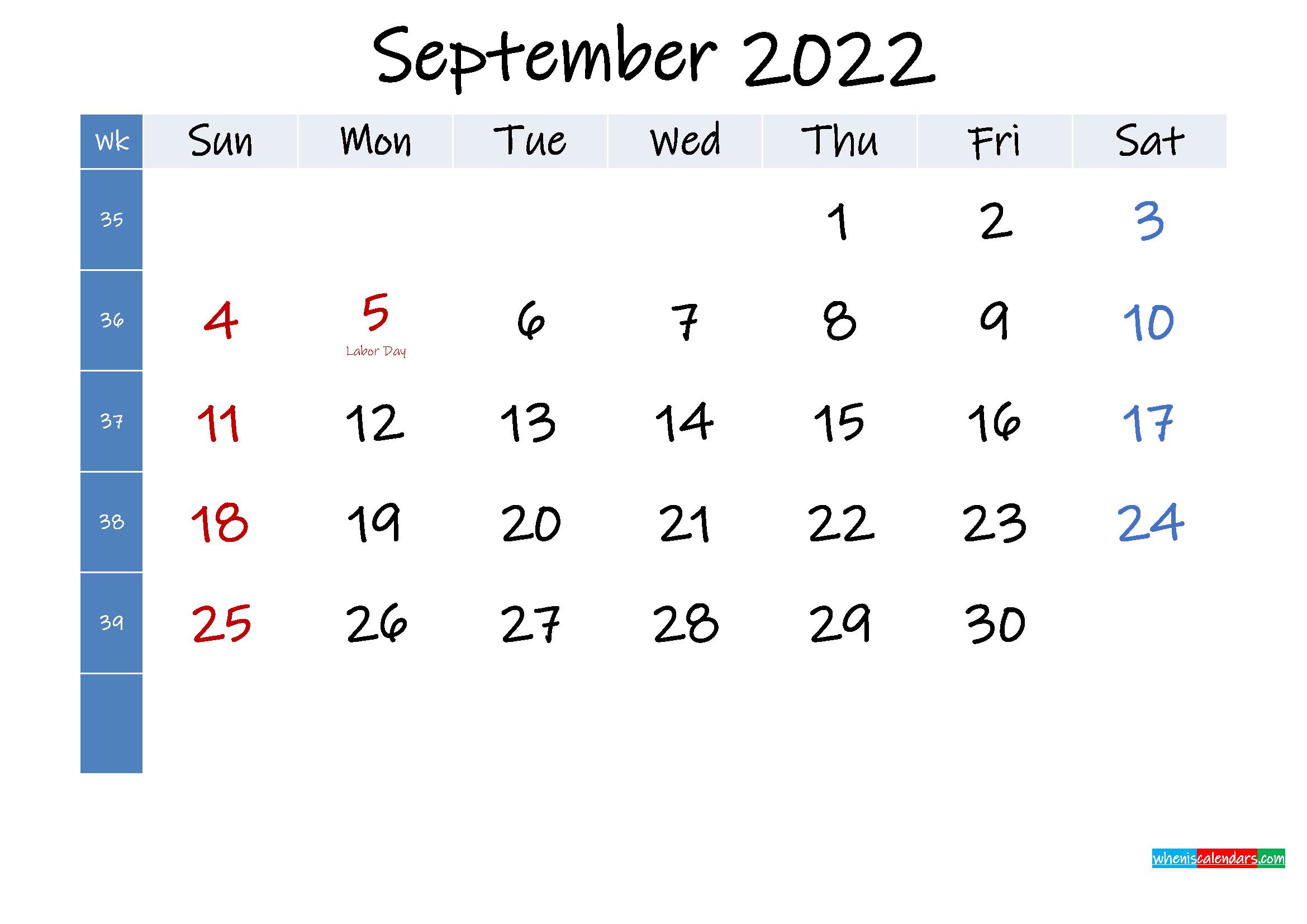 September 2022 Free Printable Calendar with Holidays