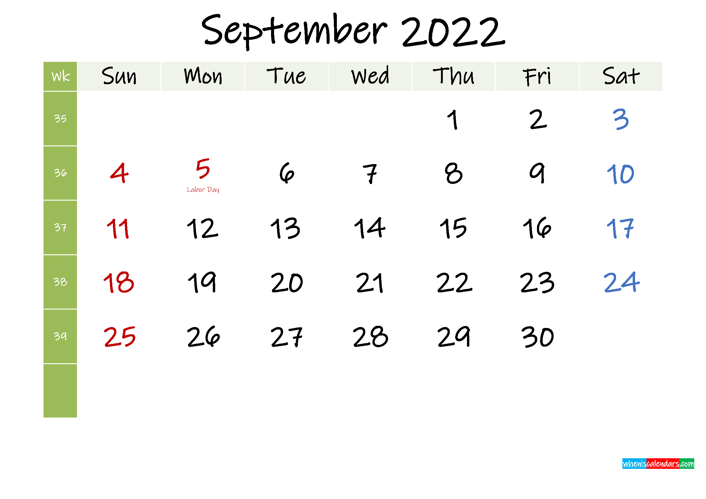 Free September 2022 Printable Calendar with Holidays